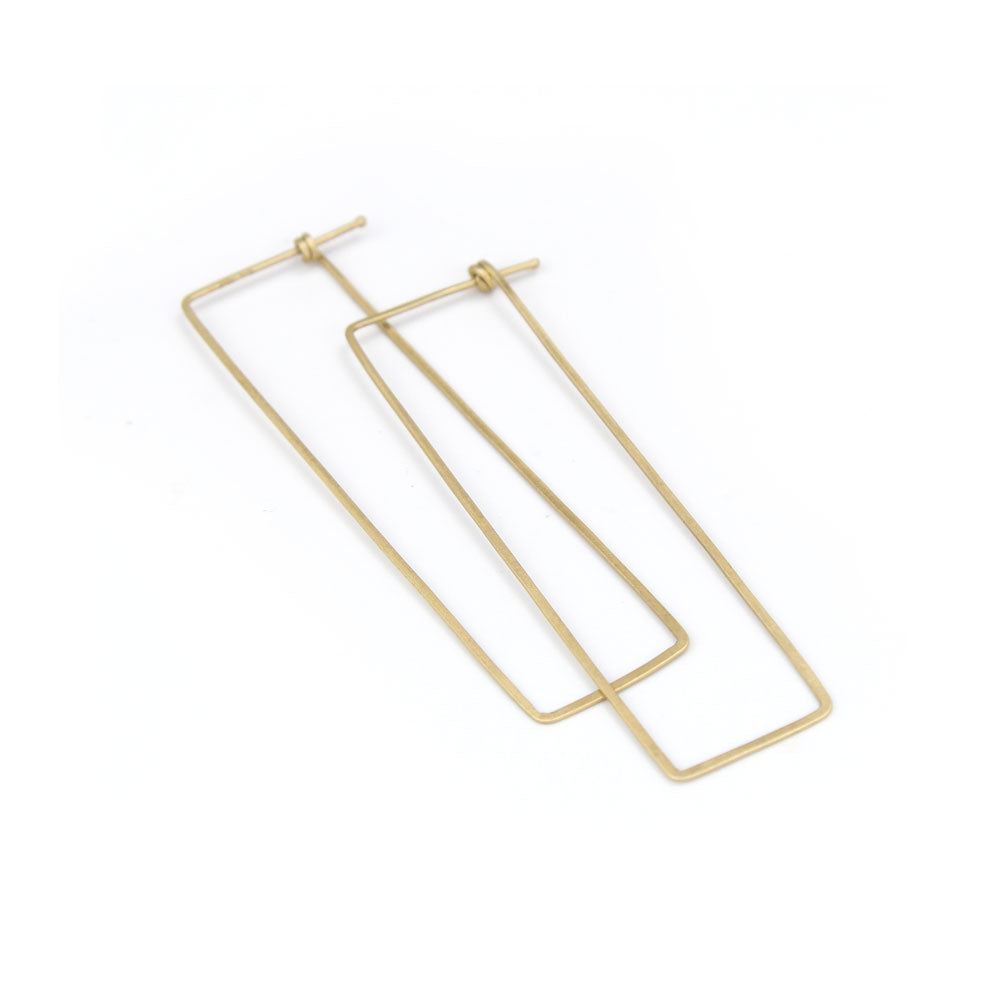 large / 14k yellow gold rectangle dainty hoops, carla caruso