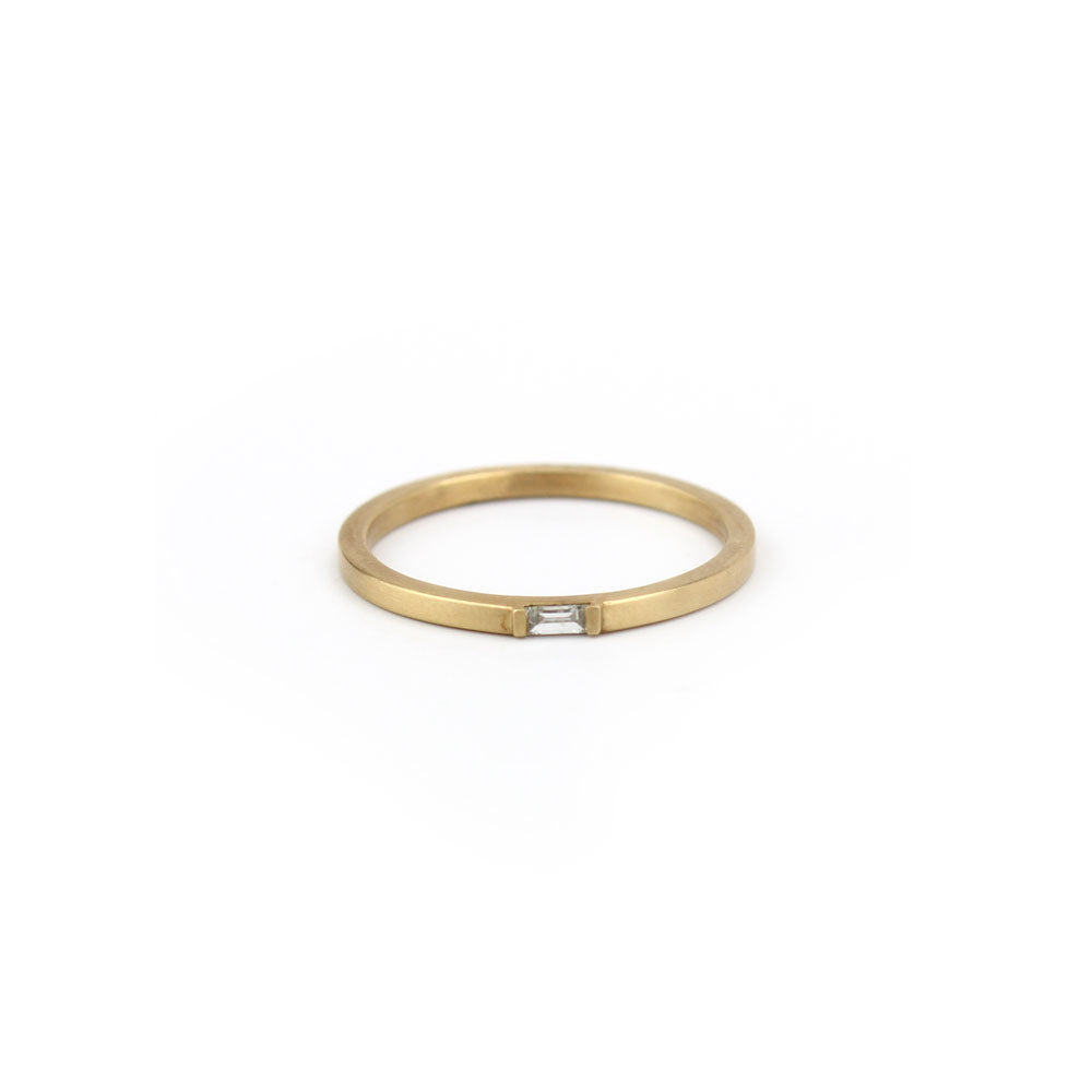 14k yellow gold with white diamond horizontal baguette diamond ring, carla caruso