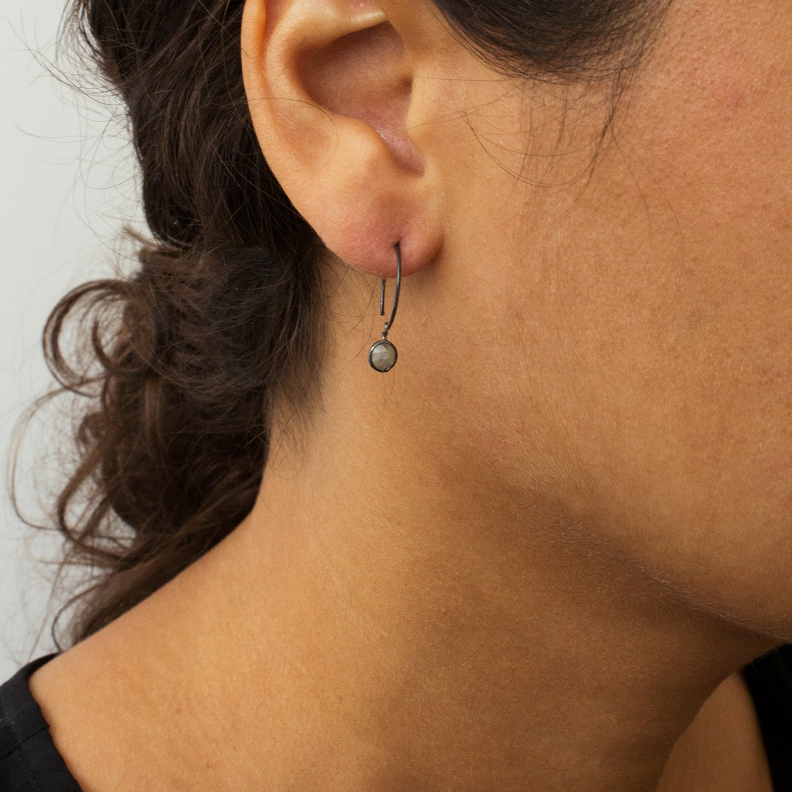 simple gray diamond earrings