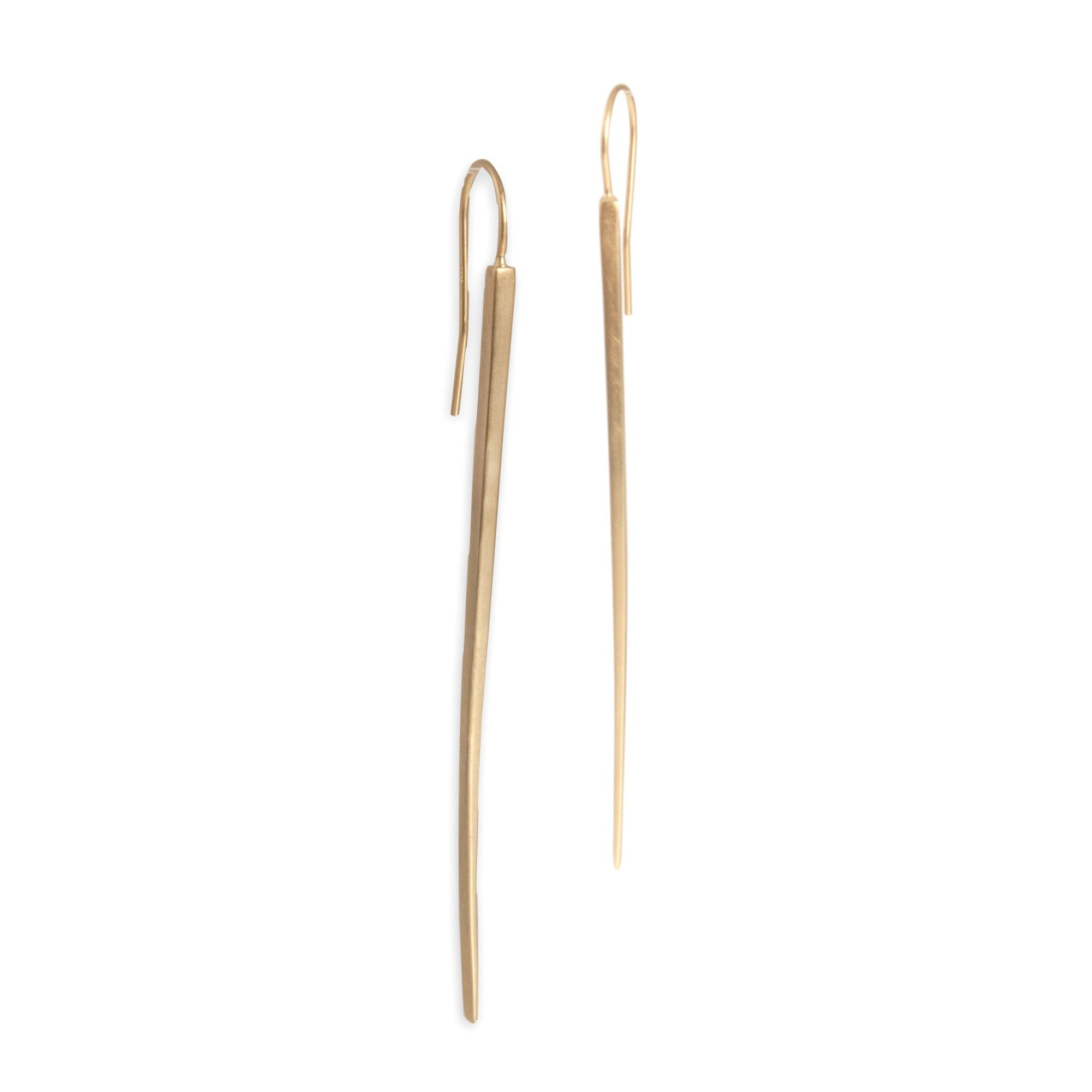 14k yellow gold long sliver earrings