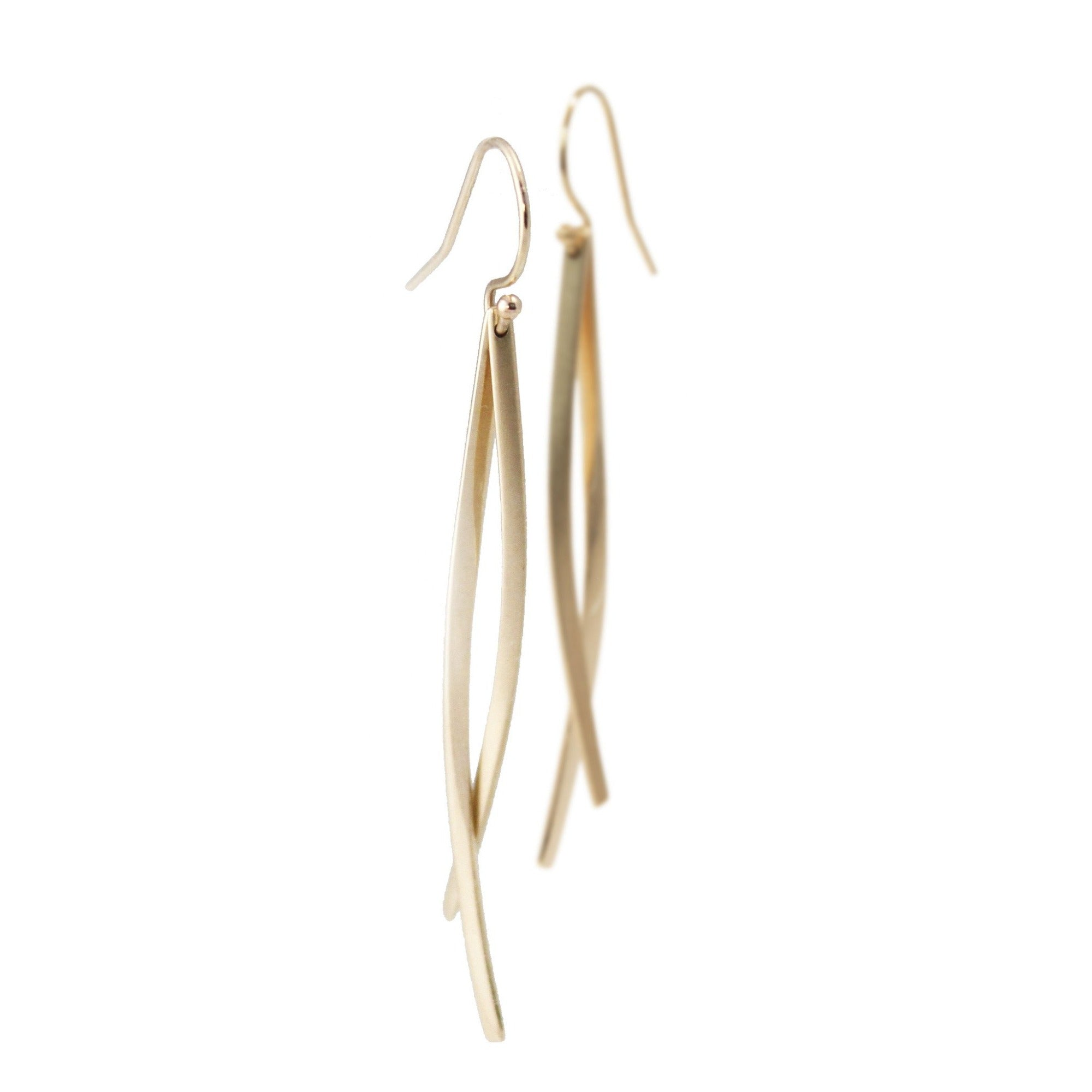 14k yellow gold double sliver earrings
