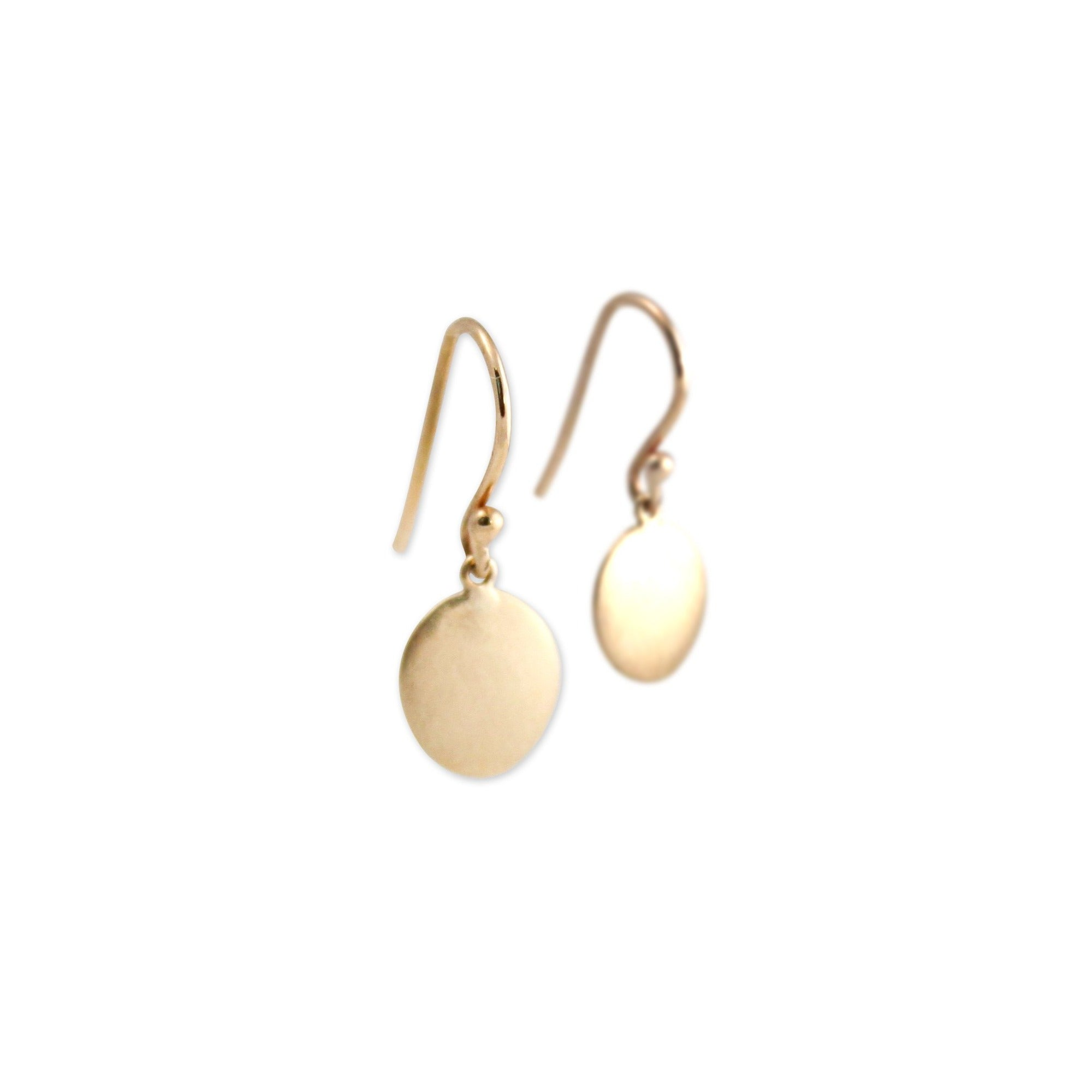 14k yellow gold small disc drop earrings