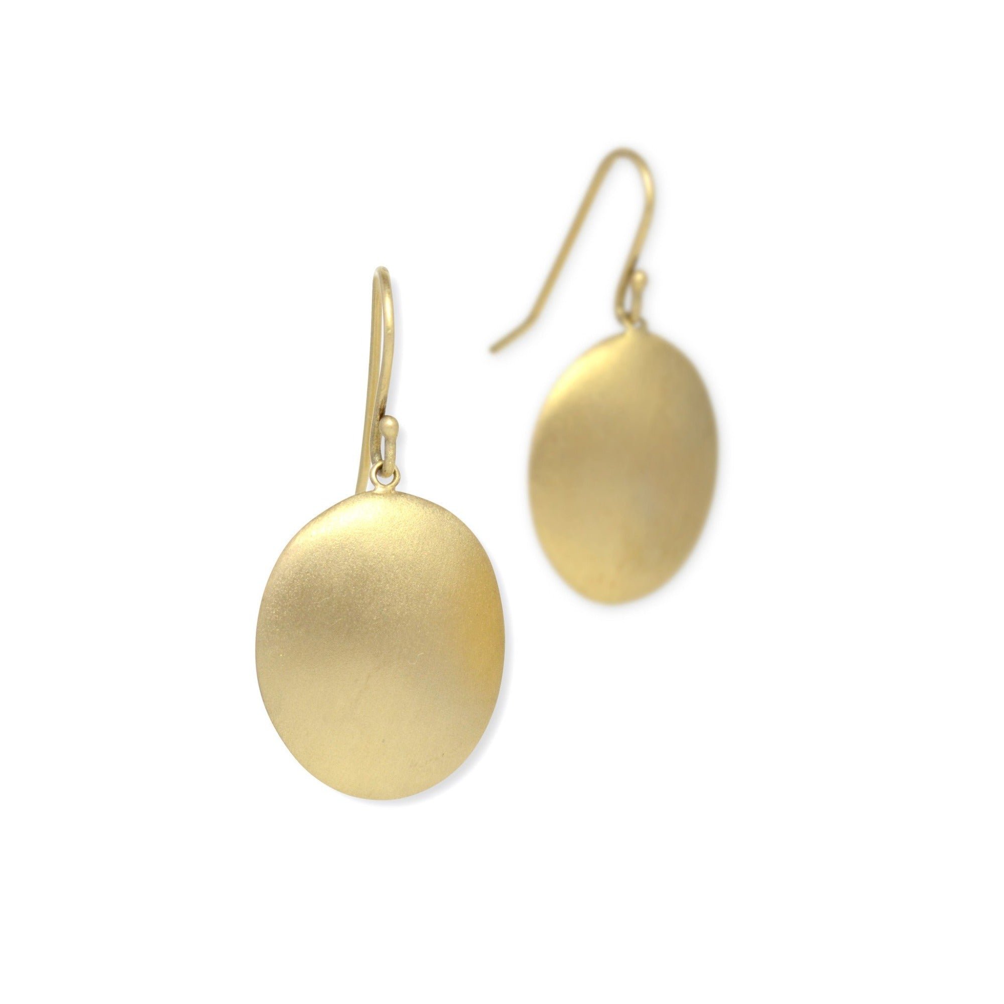 14k yellow gold large disc drop earrings
