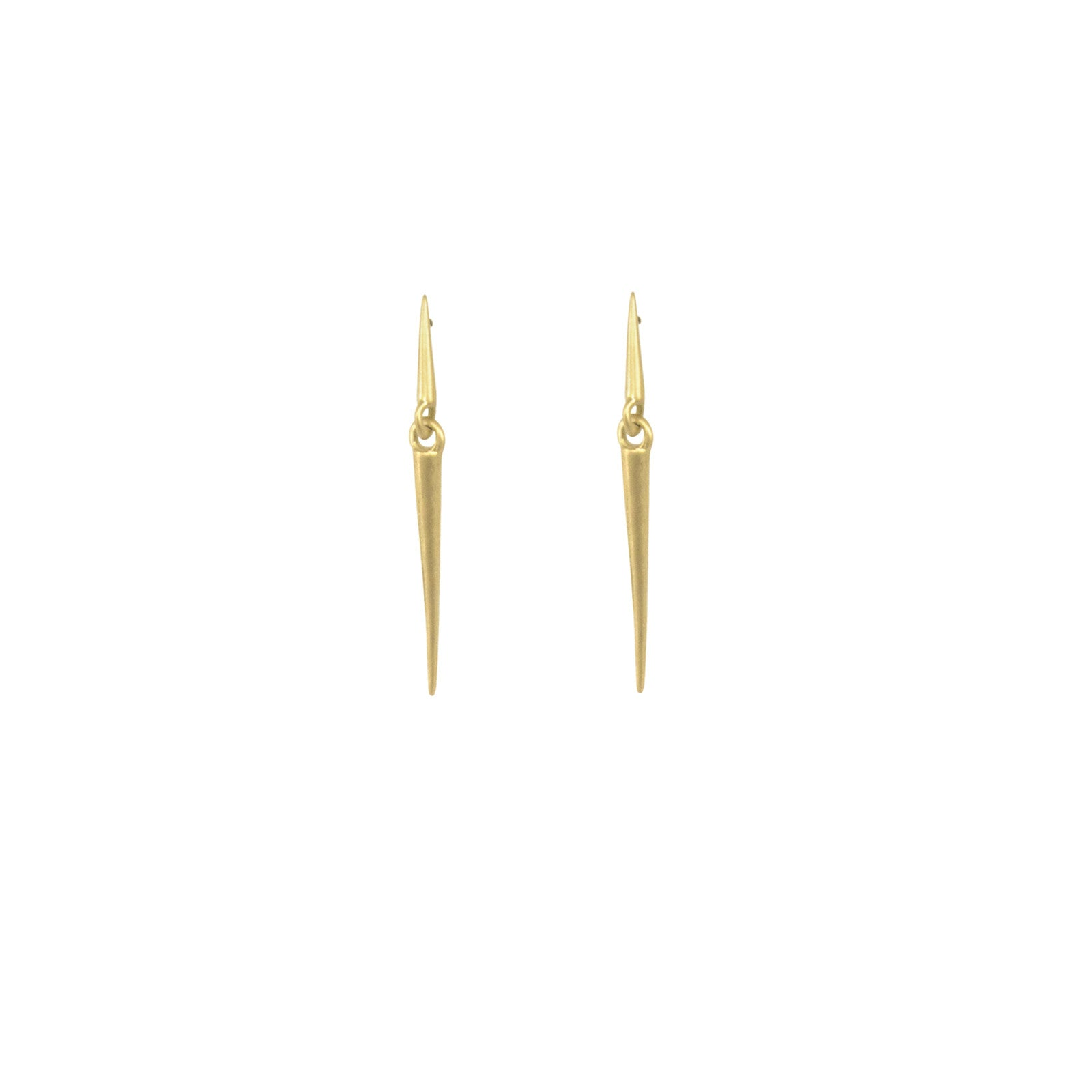 18k yellow gold / small mirror point dangle earrings