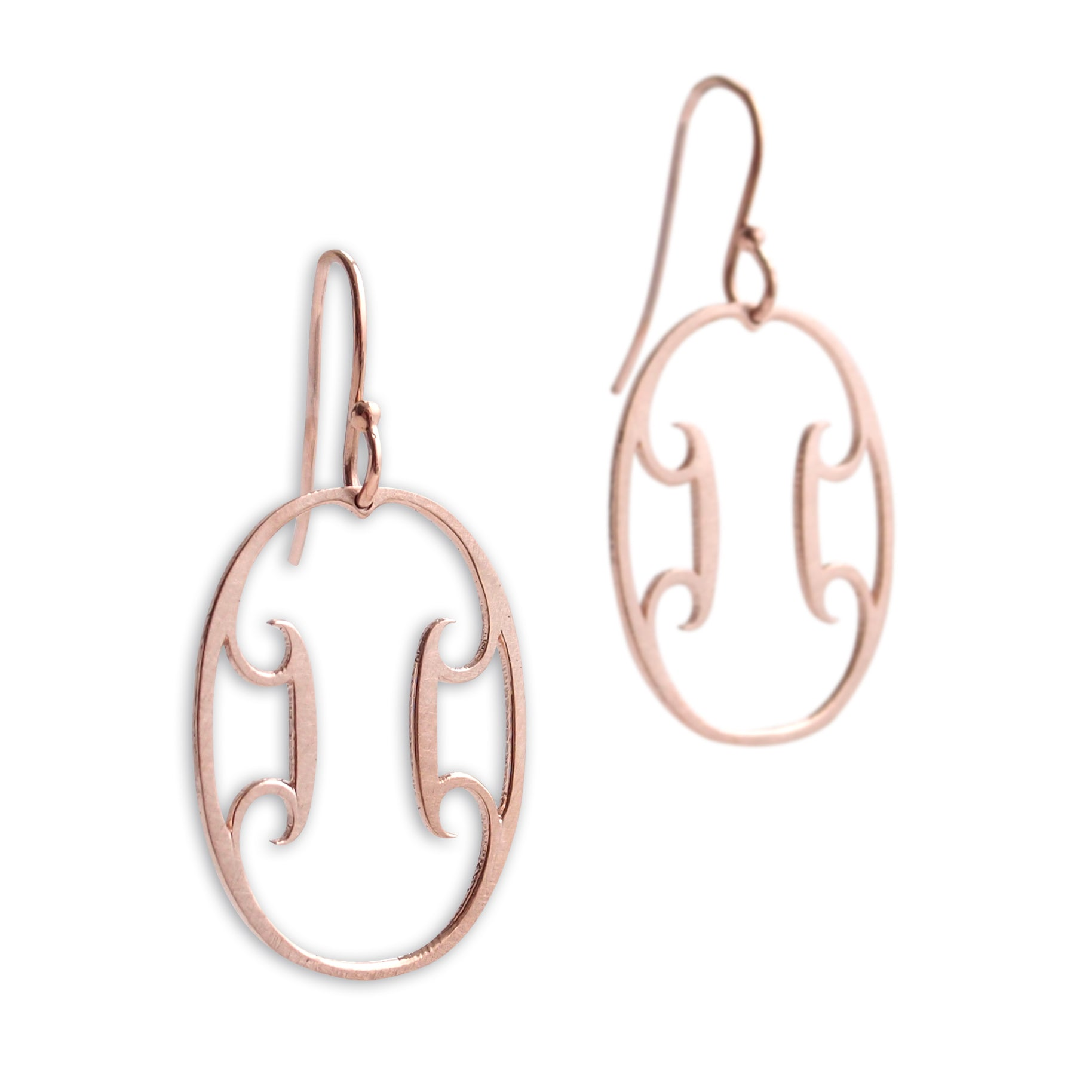 14k rose gold oval arabesque earrings