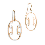 14k yellow gold oval arabesque earrings