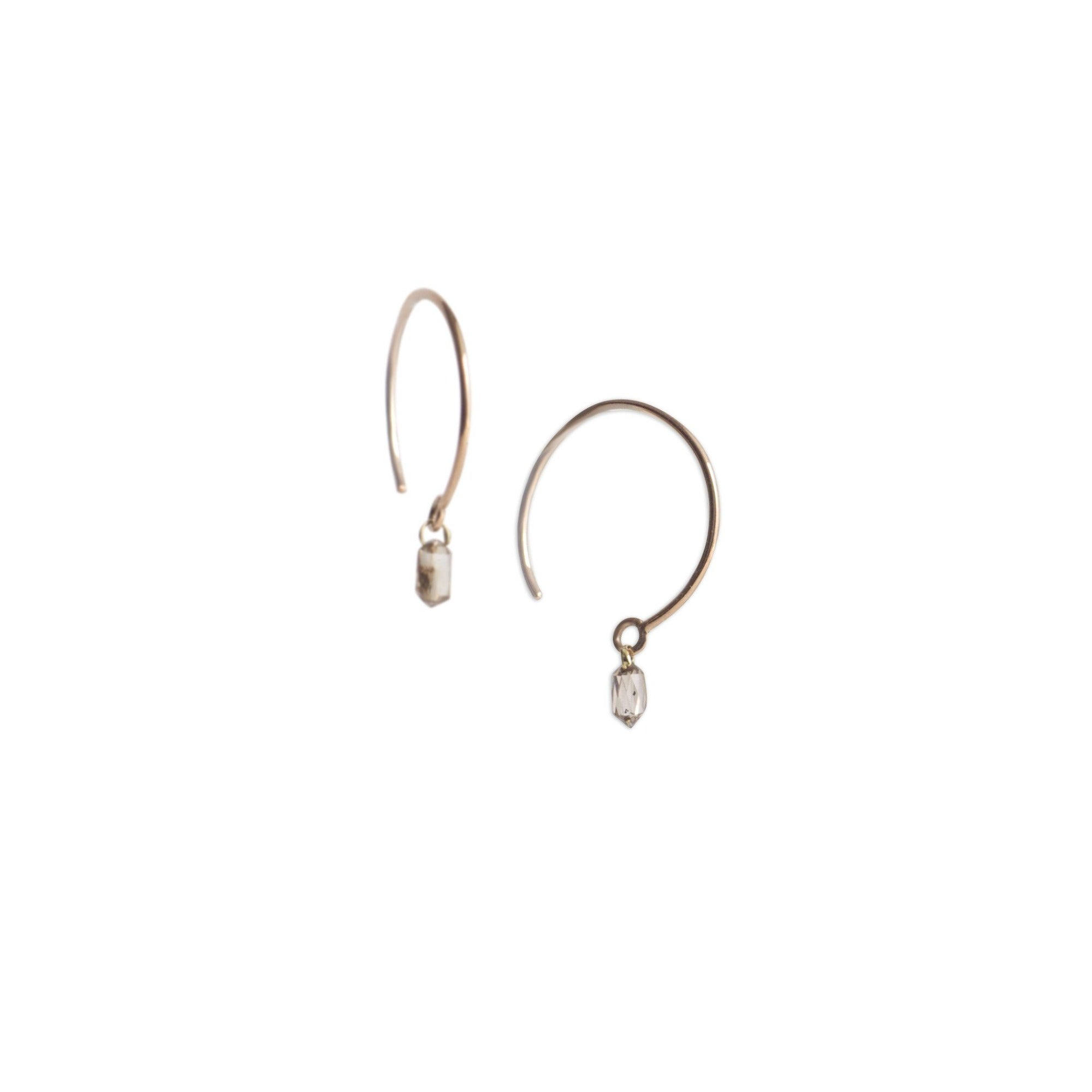 small single diamond briolette earrings