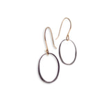 "small / sterling silver plated in black rhodium with 14k ear wire ""o"" drop earrings"