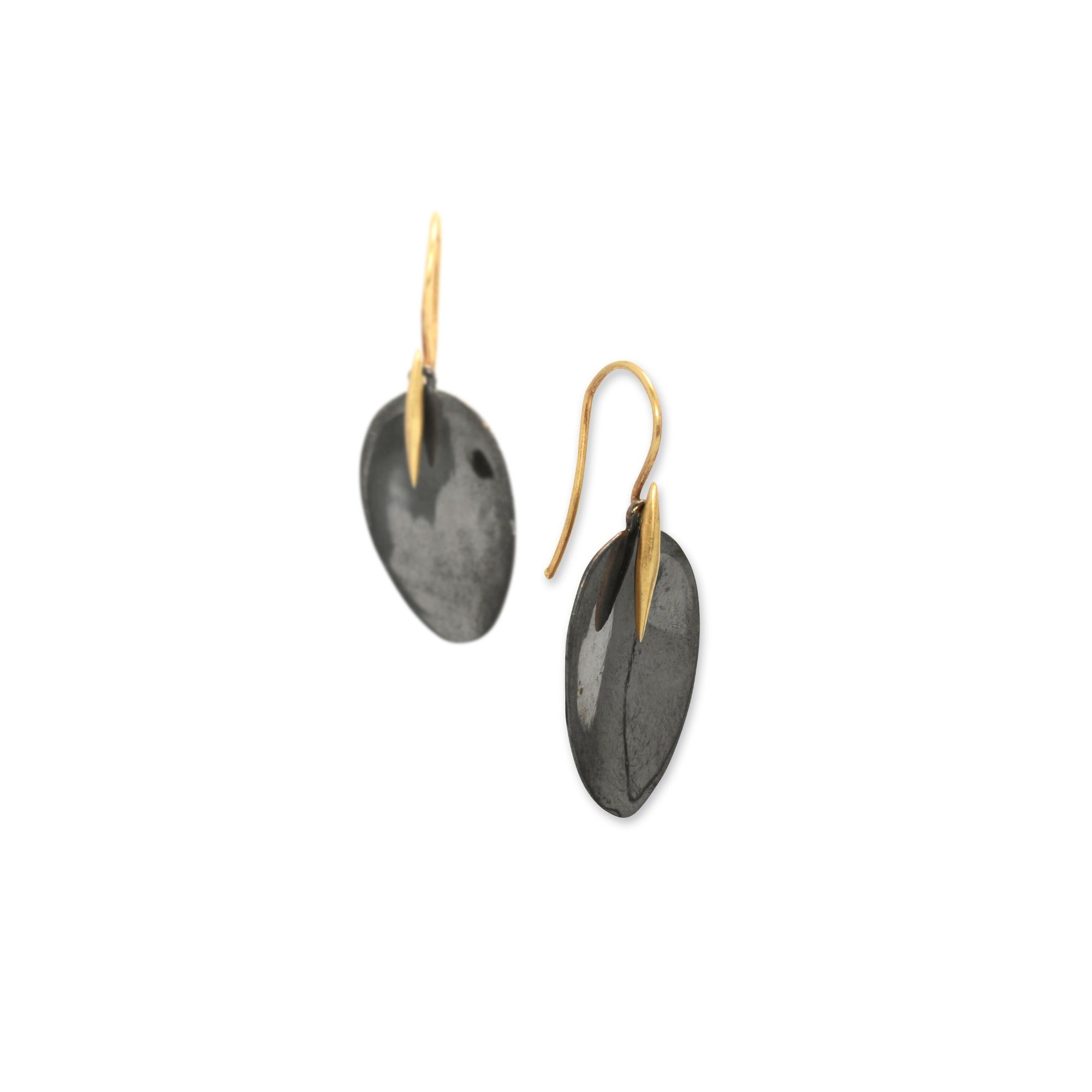 black rhodium with 14k yellow gold point / small petal and point earrings