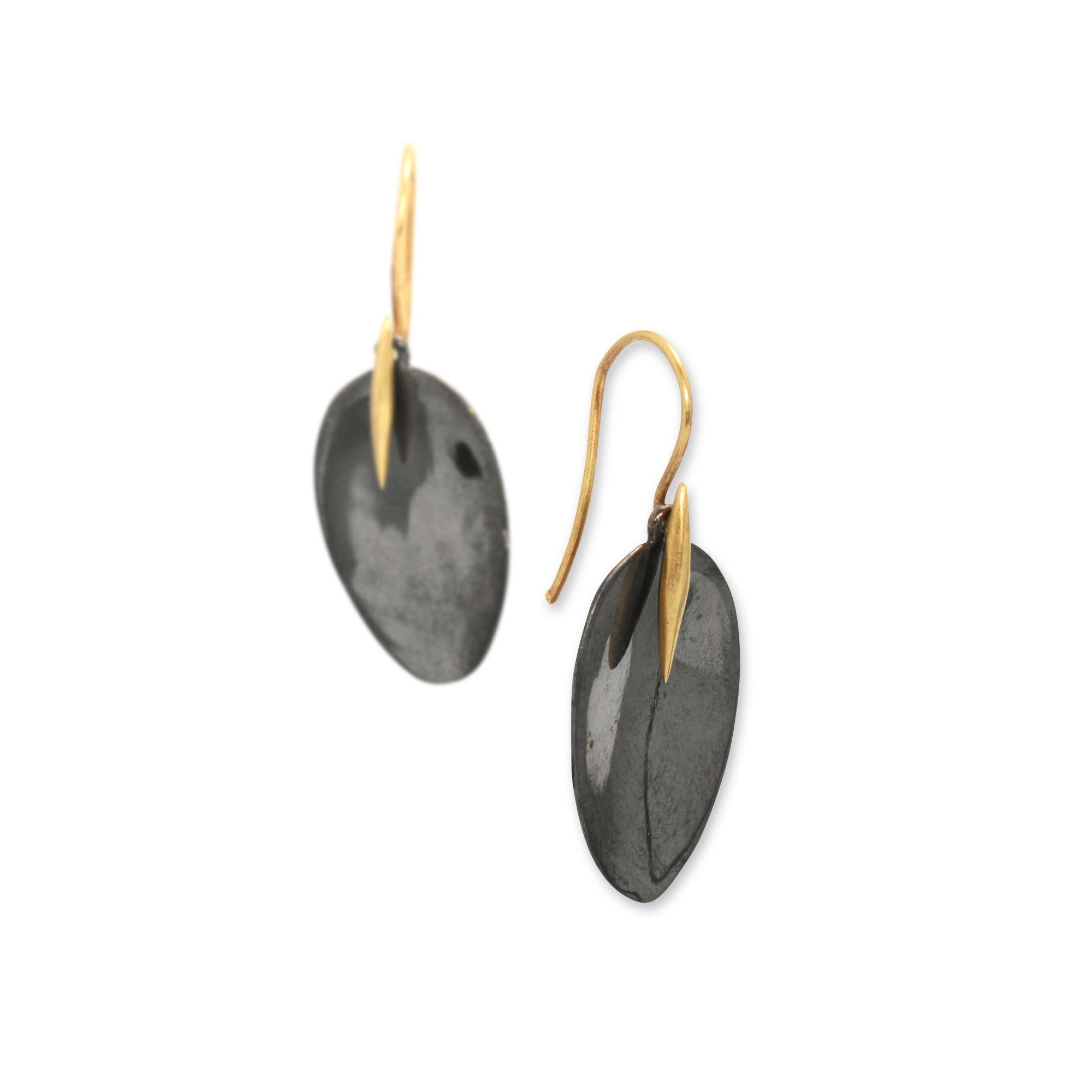 black rhodium with 14k yellow gold point / large petal and point earrings