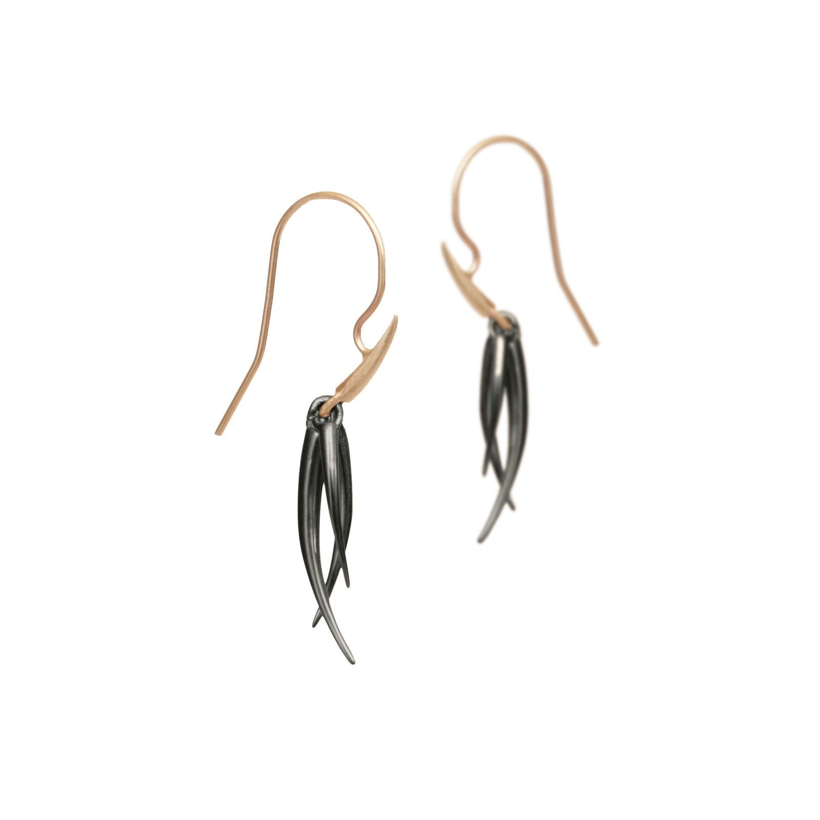 small / sterling silver plated in black rhodium/14k yellow gold ankole tassle earrings