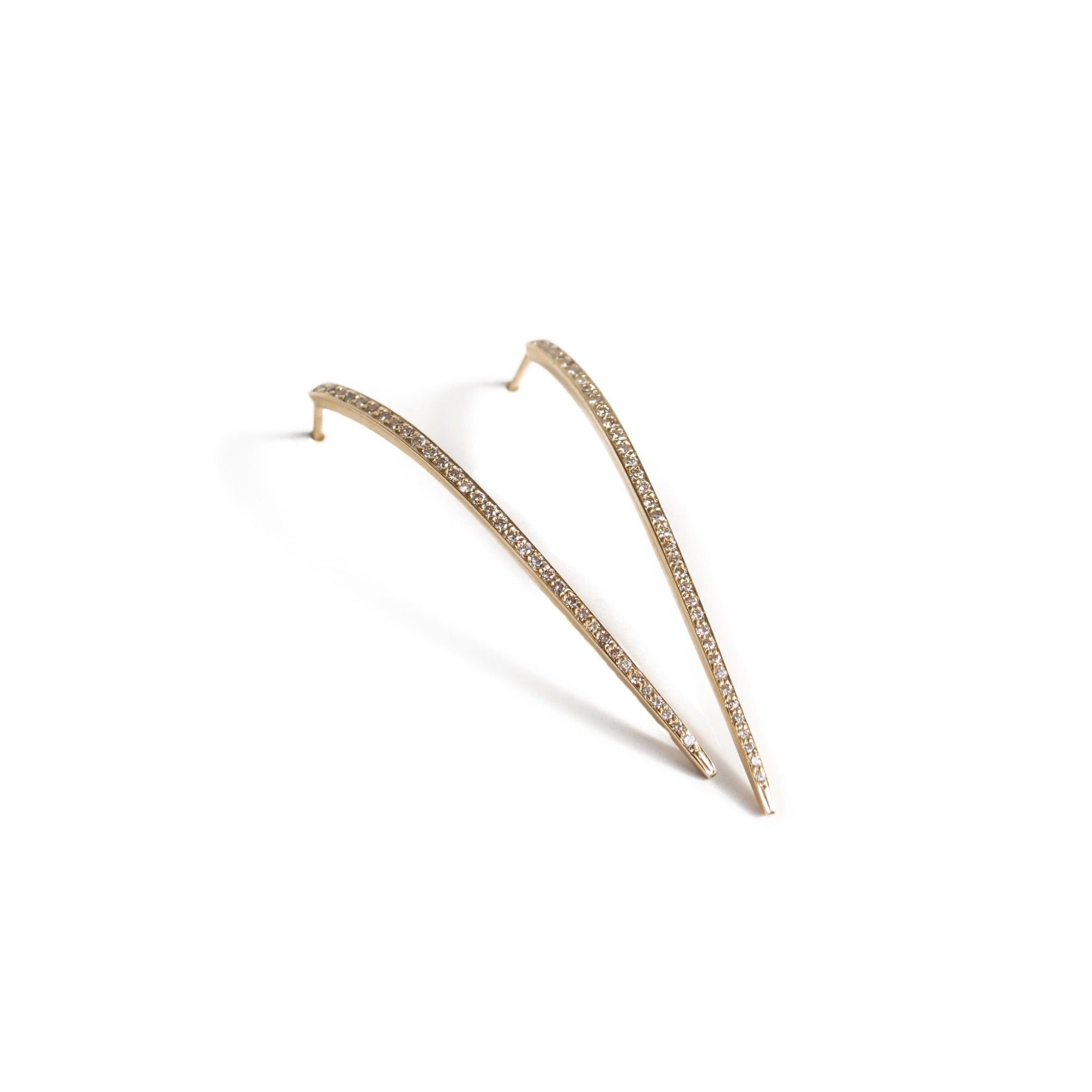 14k yellow gold with brown pave diamonds curved stake studs