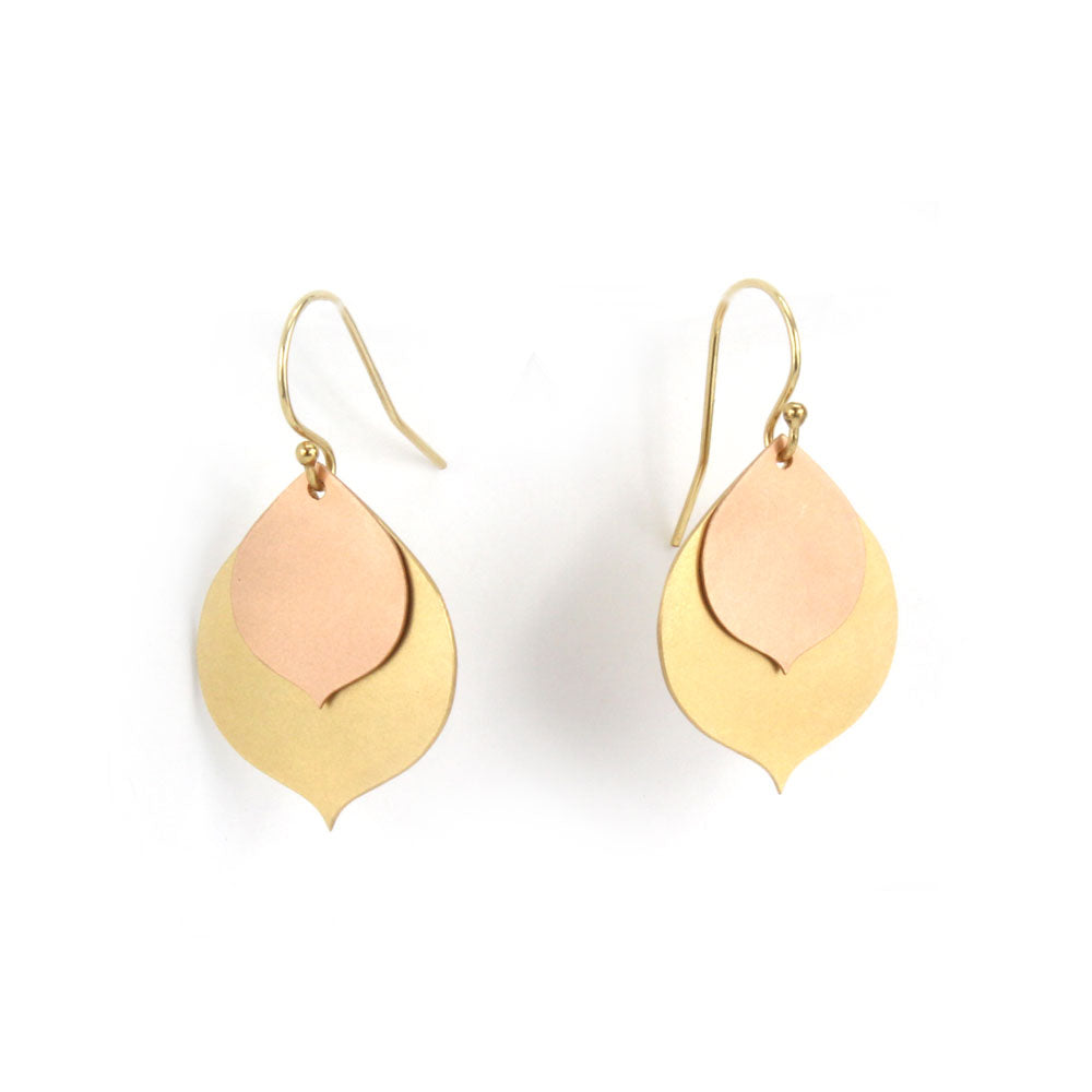 layered lotus petal earrings