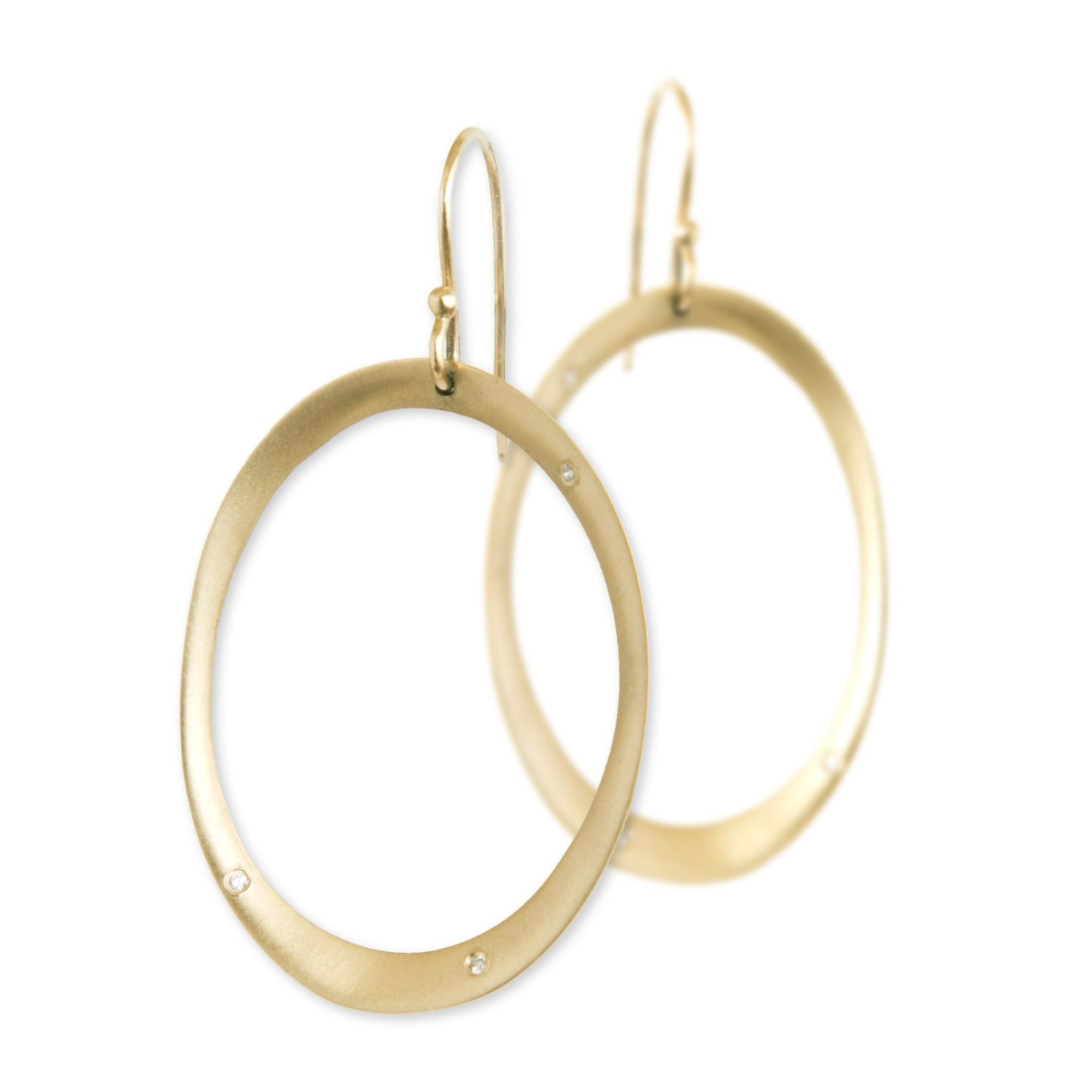 14k yellow gold with white diamonds large rounded oculus earrings