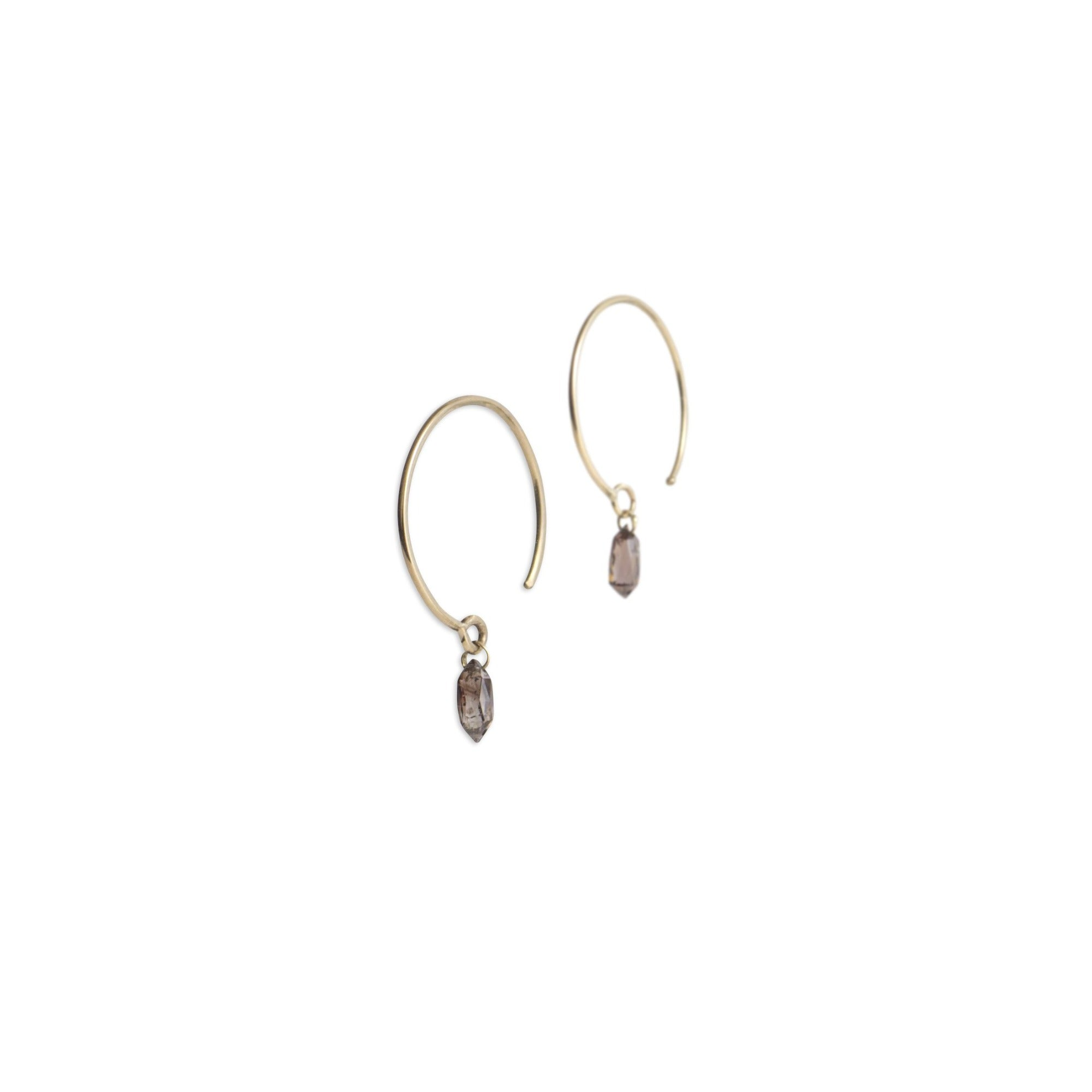 medium single diamond briolette earrings