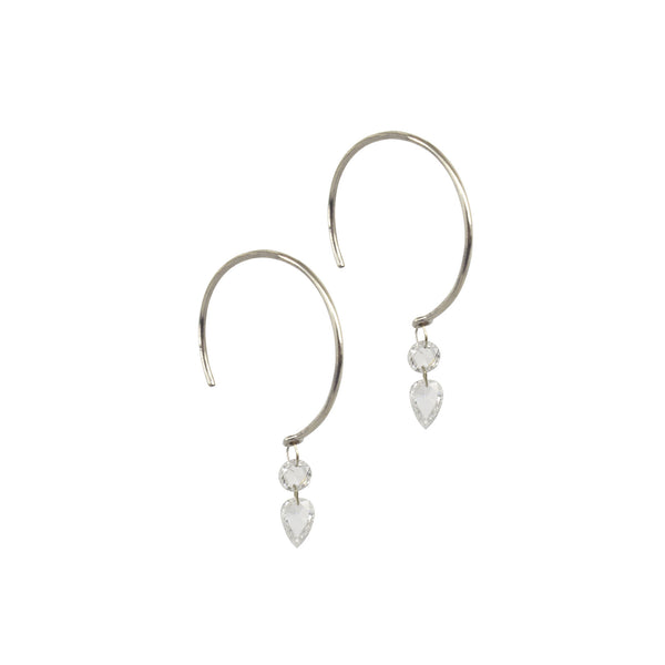 double drop rosecut diamond earrings