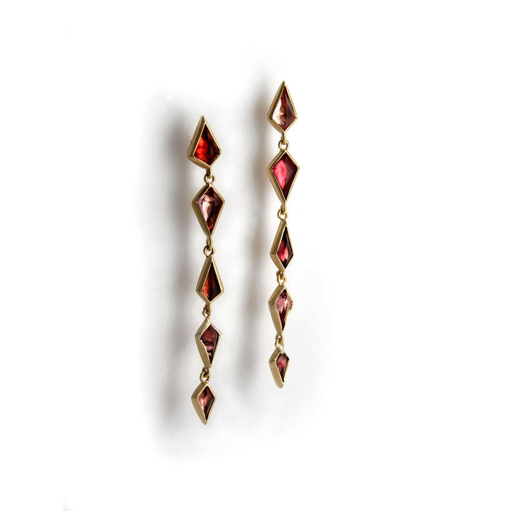 18k yellow gold with spinel stone / large spinel cascade earrings