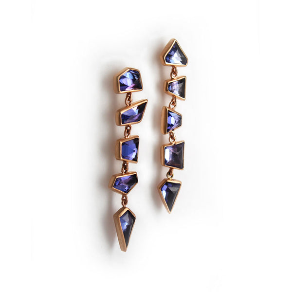 Geo Tanzanite Dangle Earrings