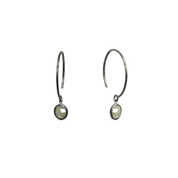 14k white gold plated in black rhodium simple gray diamond earrings