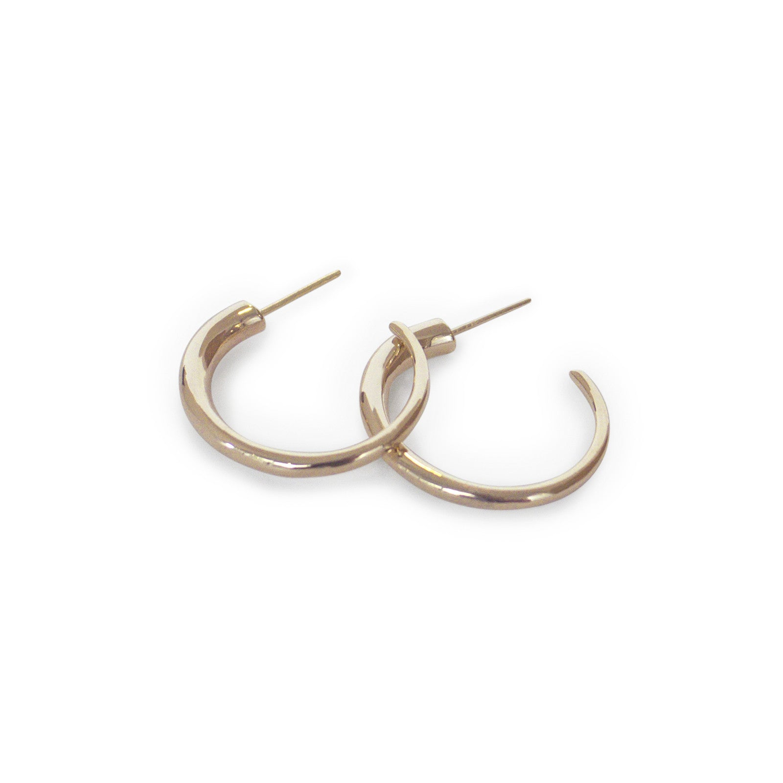 14k yellow gold round arpent hoops