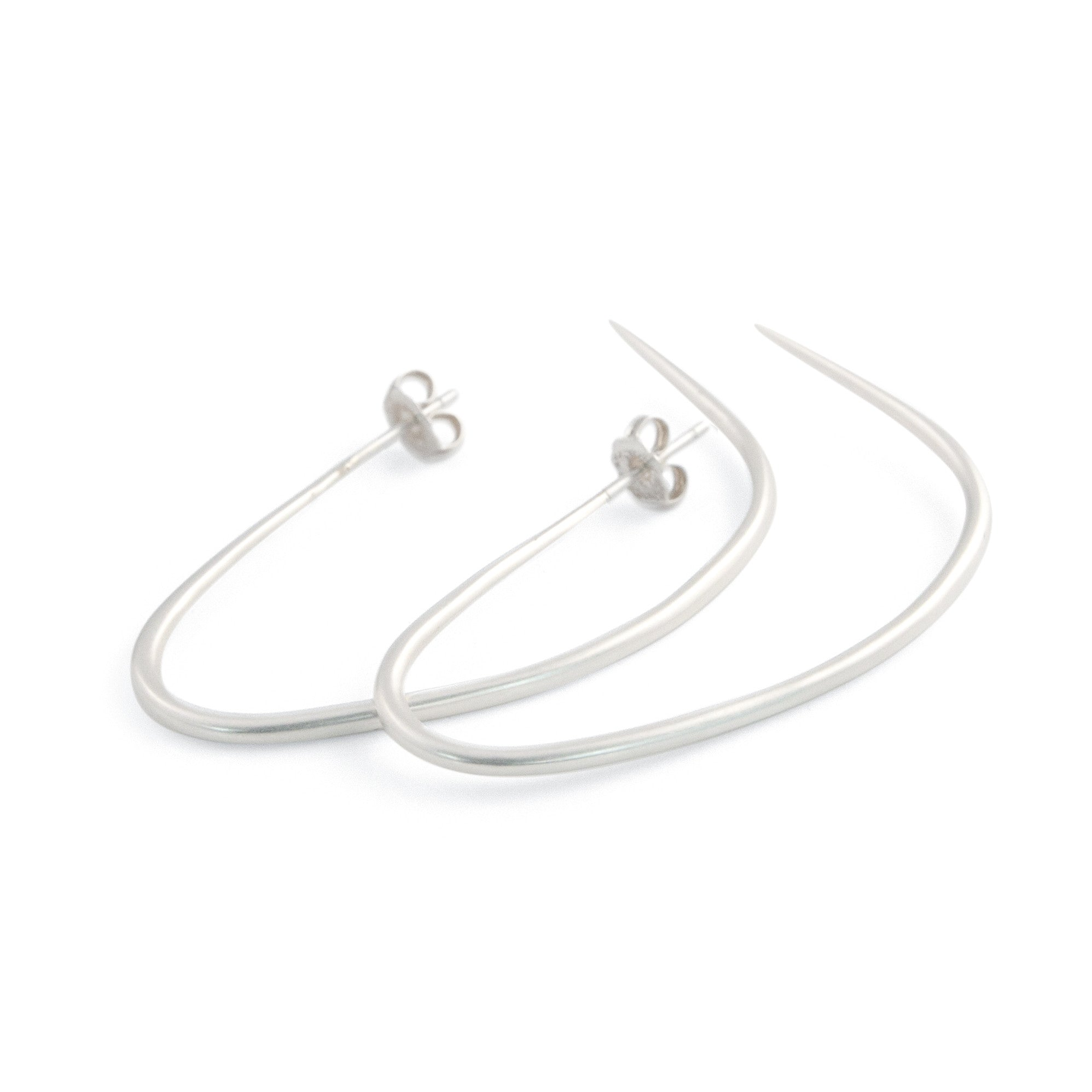 sterling silver drawn hoop earrings