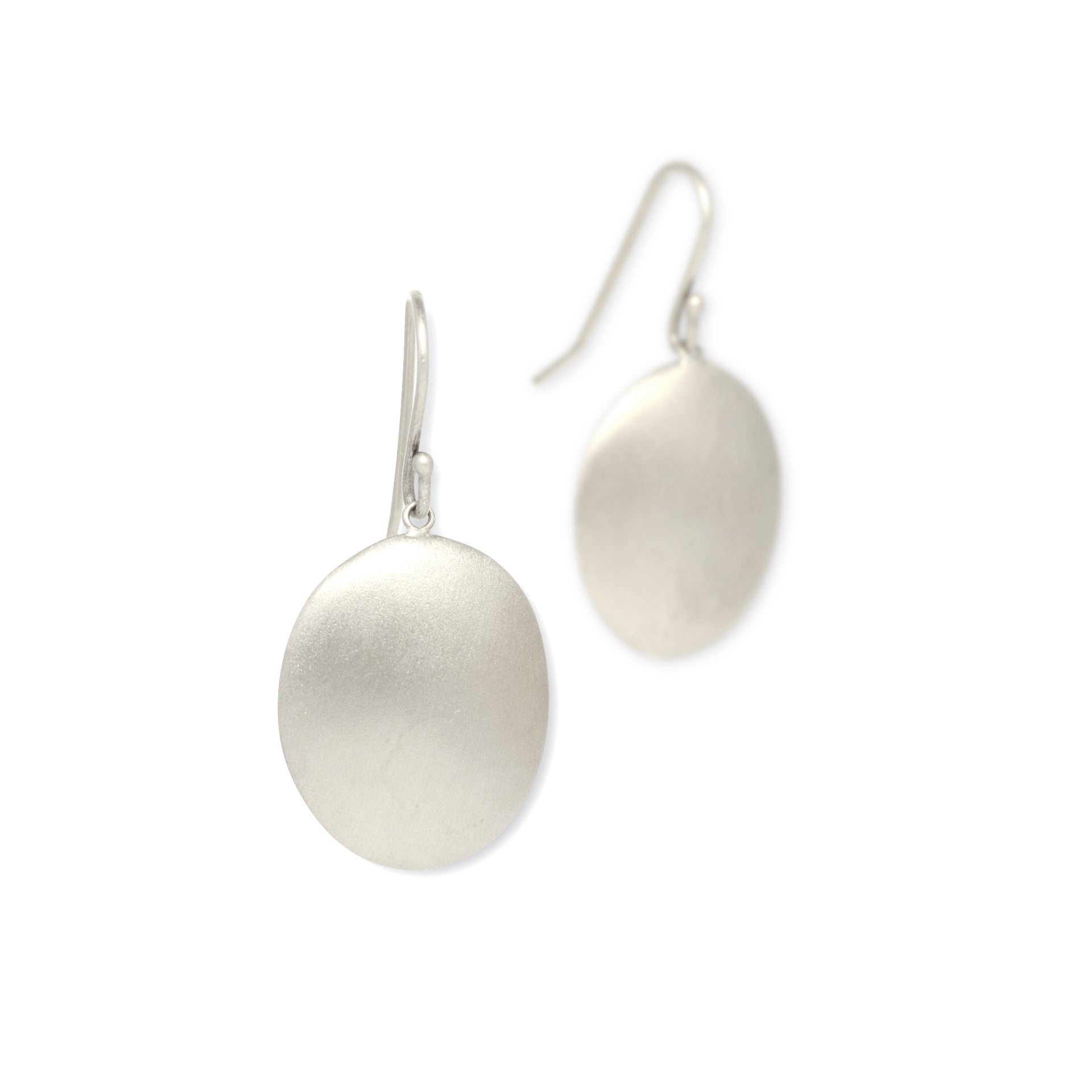 sterling silver large disc drop earrings