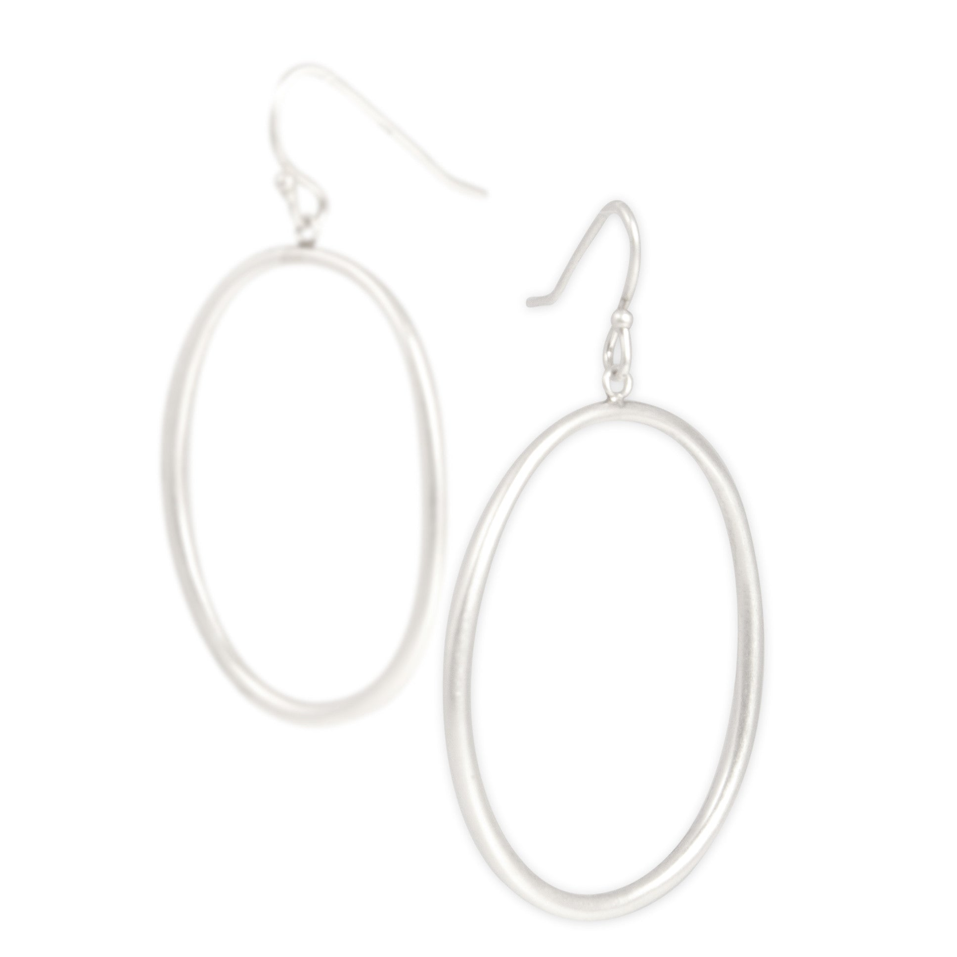 "large / sterling silver ""o"" drop earrings"