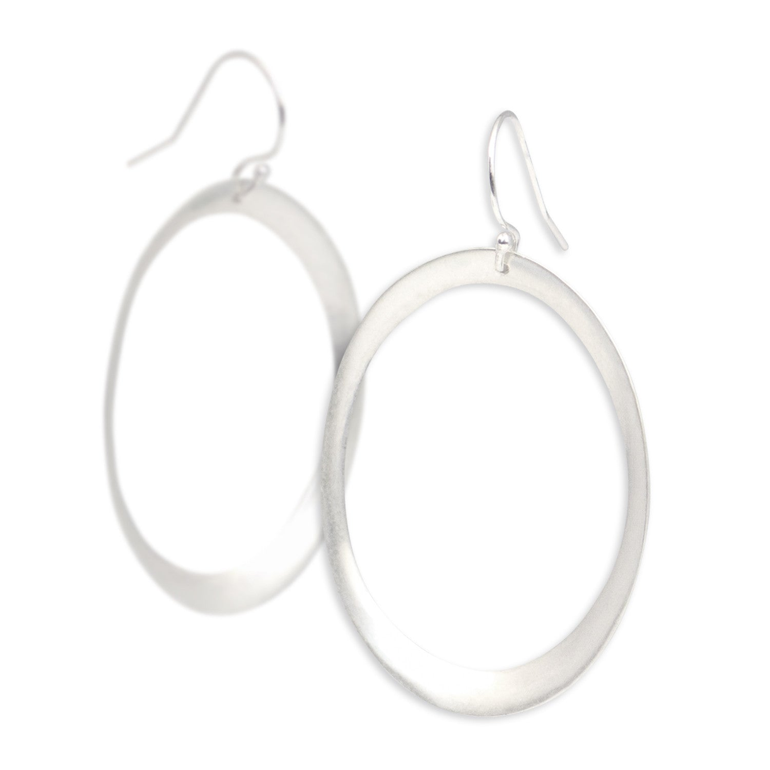 sterling silver large rounded oculus earrings
