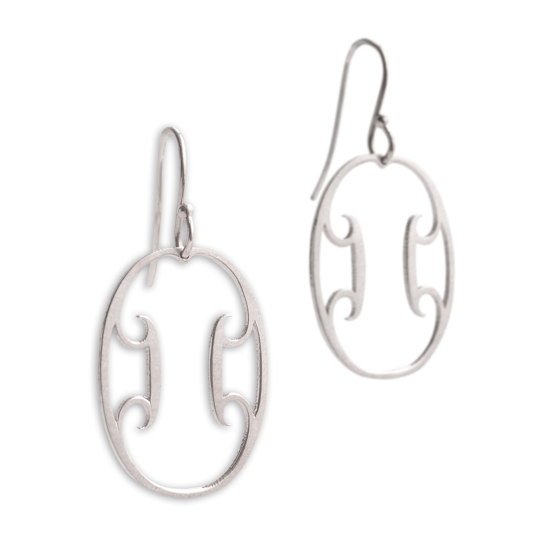 sterling silver oval arabesque earrings