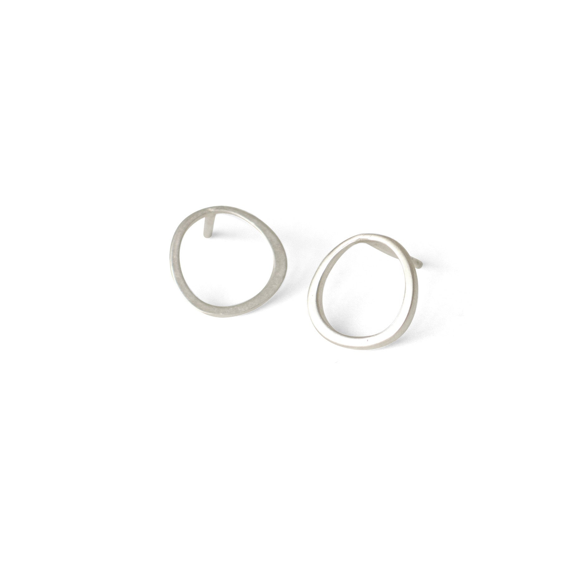 sterling silver offset circle studs
