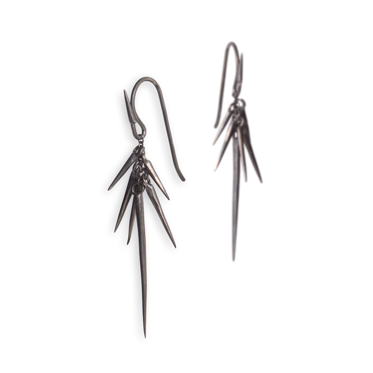 sterling silver plated in black rhodium - large small point cluster earrings