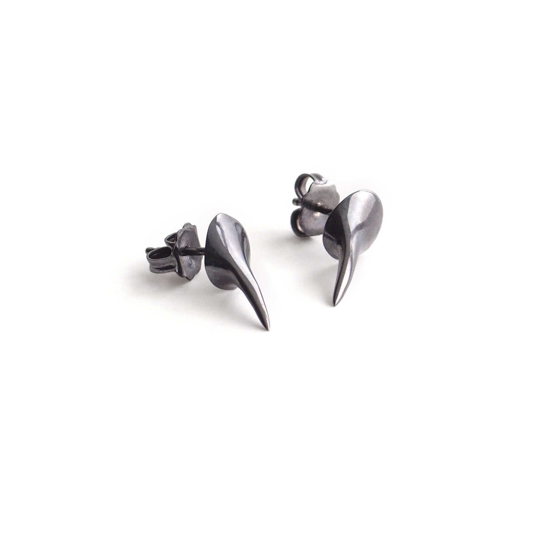 sterling silver plated in black rhodium talon studs