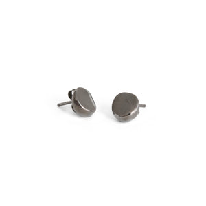 sterling silver plated in black rhodium round wedge studs