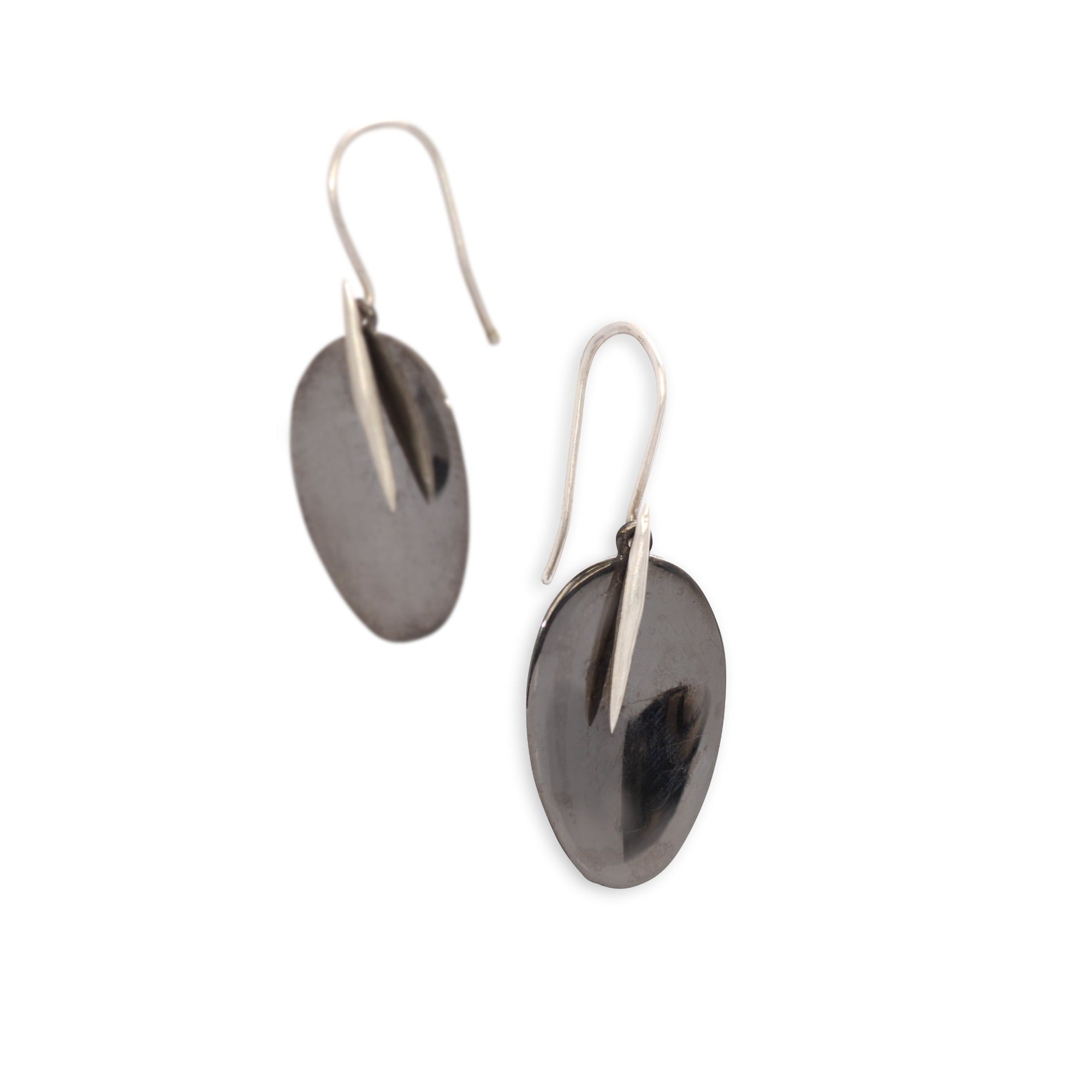 black rhodium with sterling silver point / large petal and point earrings
