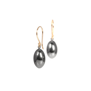 sterling silver plated in black rhodium with 14k yellow gold earwire egg drop earrings