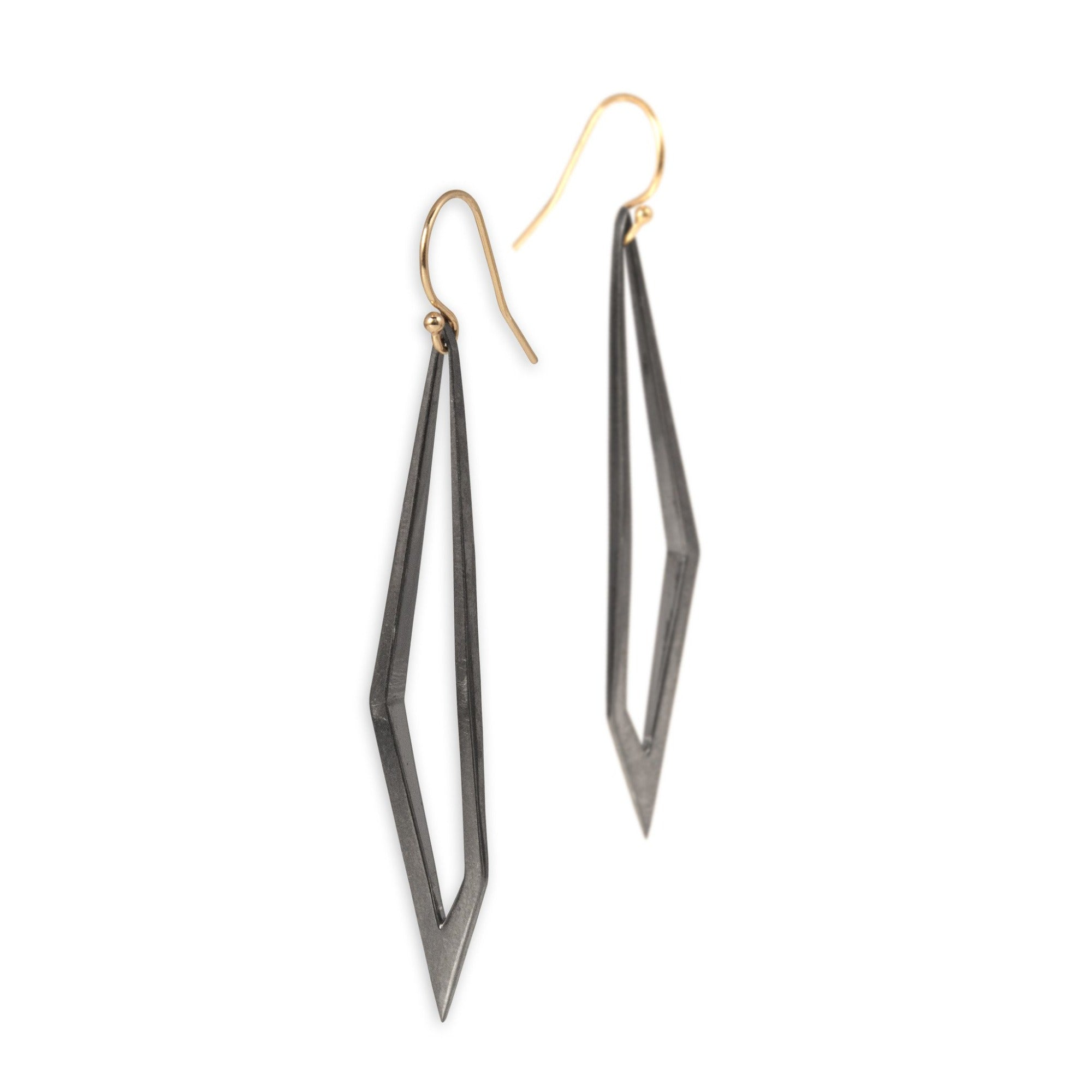 sterling silver plated in black rhodium with 14k gold ear wires hedron dangle earrings