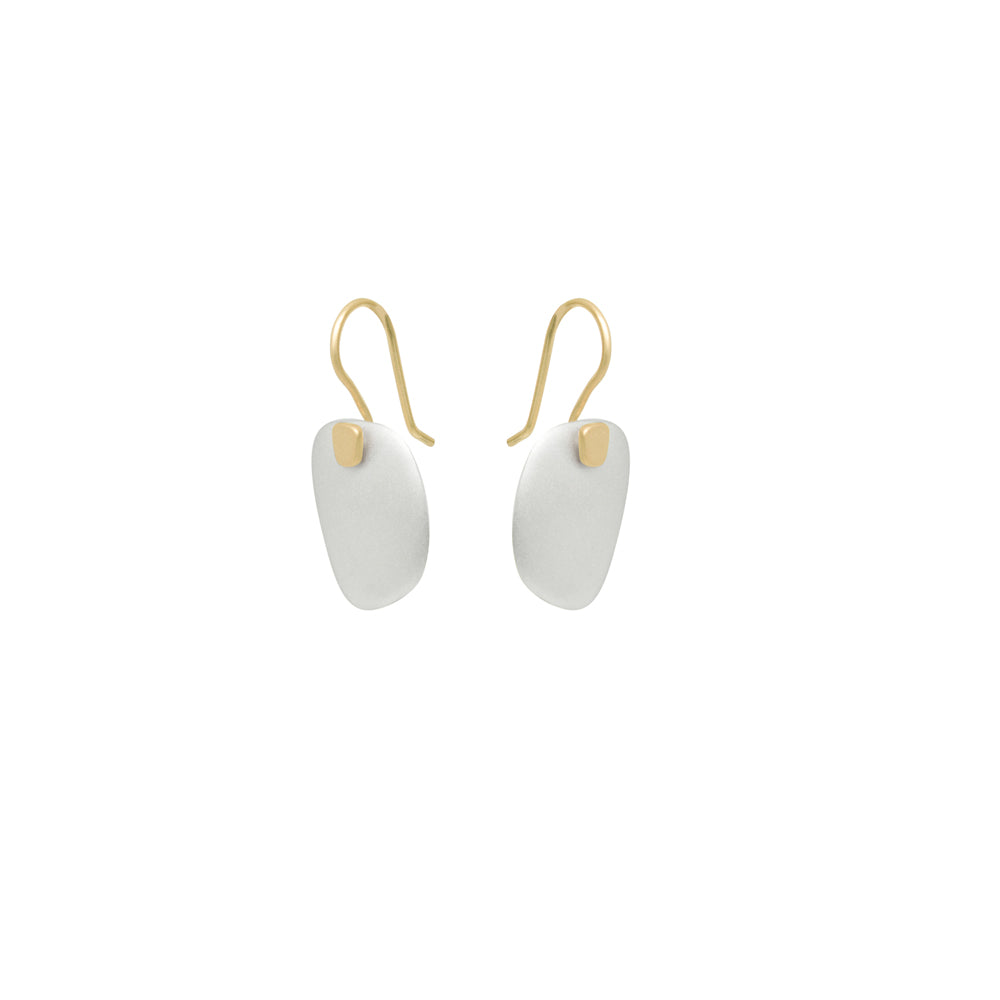 sterling silver with 18k yellow gold square totem earrings