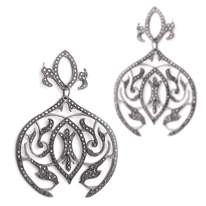 14k white gold plated in black rhodium with white diamonds arabesque dangle earrings