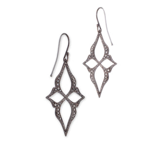 14k white gold plated in black rhodium with black pave diamonds arabesque star earrings