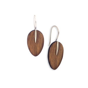 rosewood/sterling silver / small wood petal & point earrings