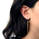 wood point drop earrings