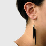 wood point cluster earrings