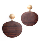oval wood totem earrings