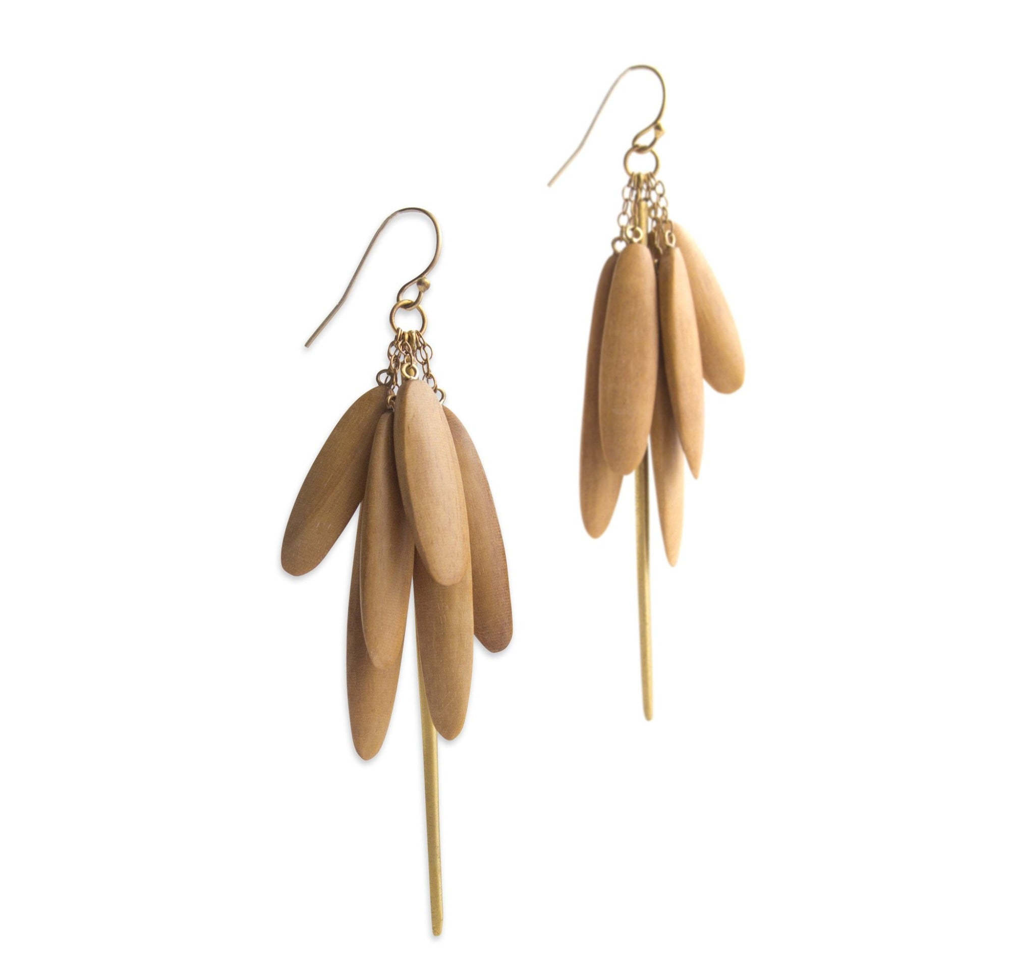 satinwood/bronze wood tassle & spicula earrings
