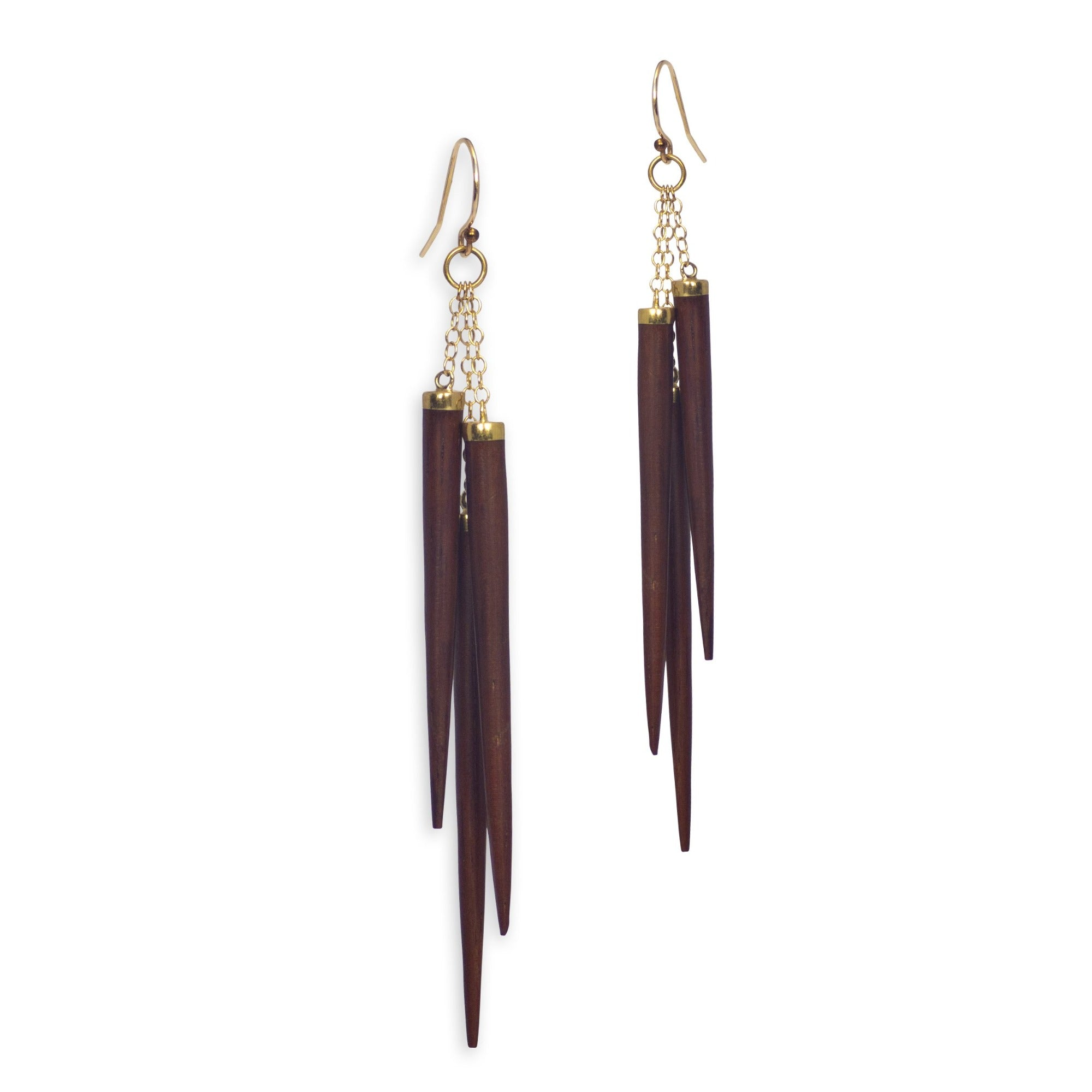 bloodwood/bronze wood point cluster earrings