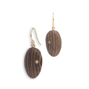 oval wood inlay earrings