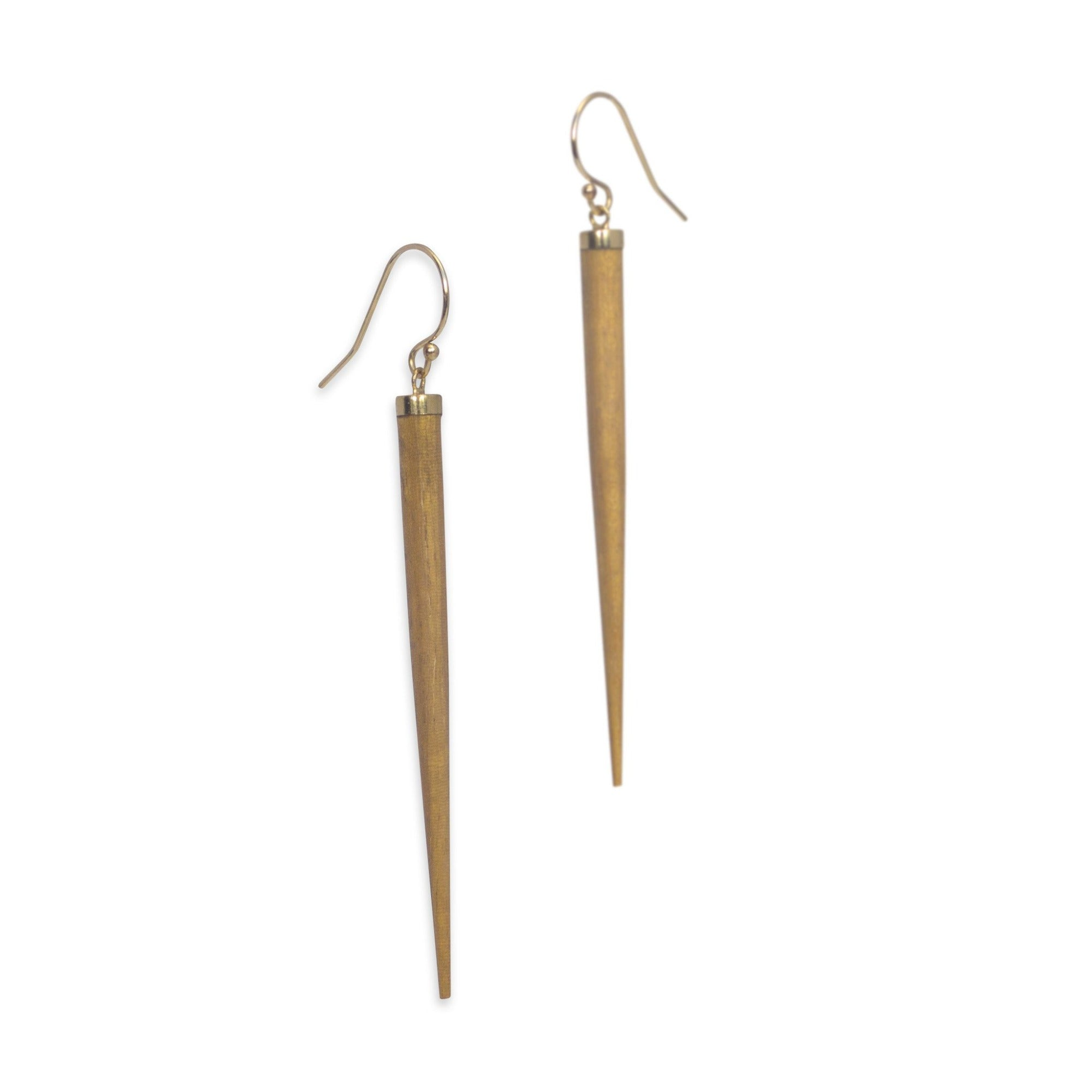 satinwood/bronze wood point drop earrings