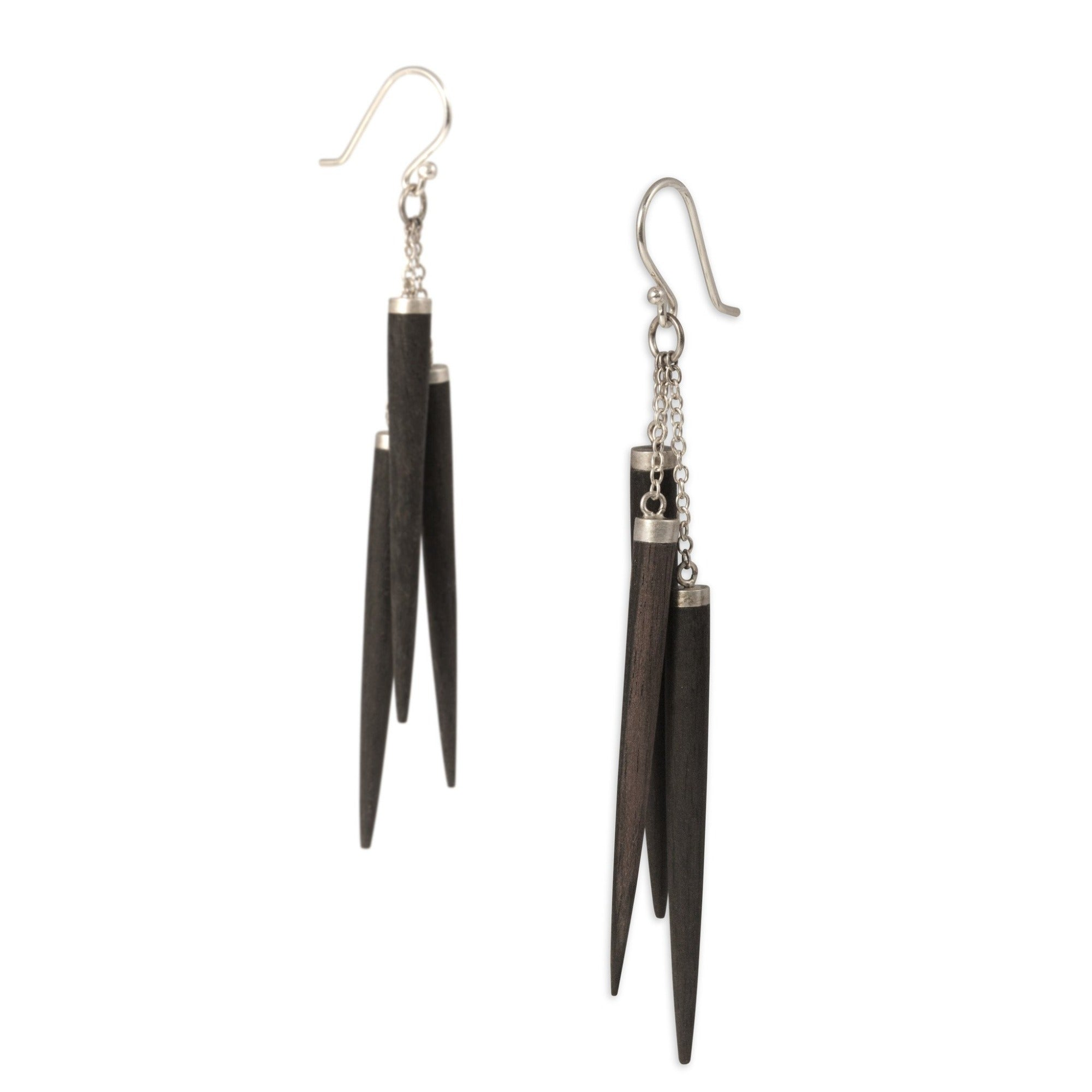 ebony/sterling silver wood point cluster earrings