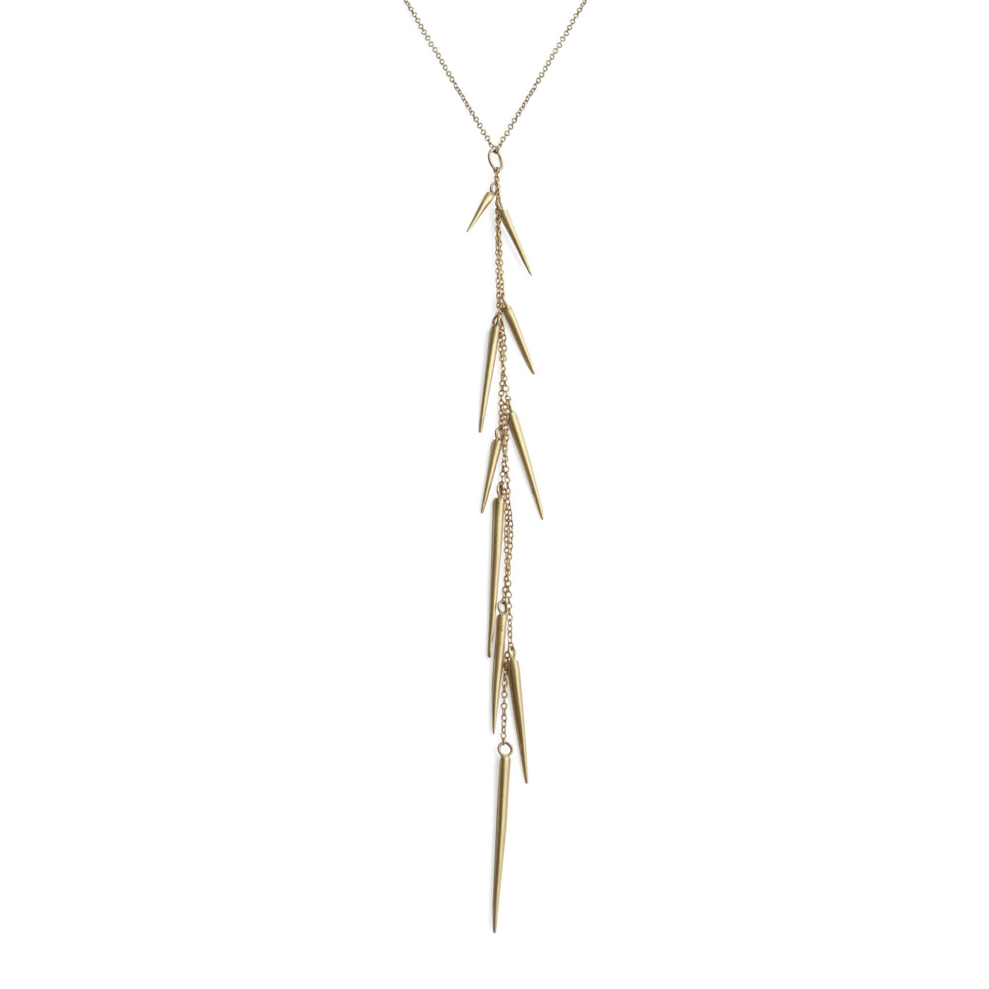 14k yellow gold small point long drop necklace