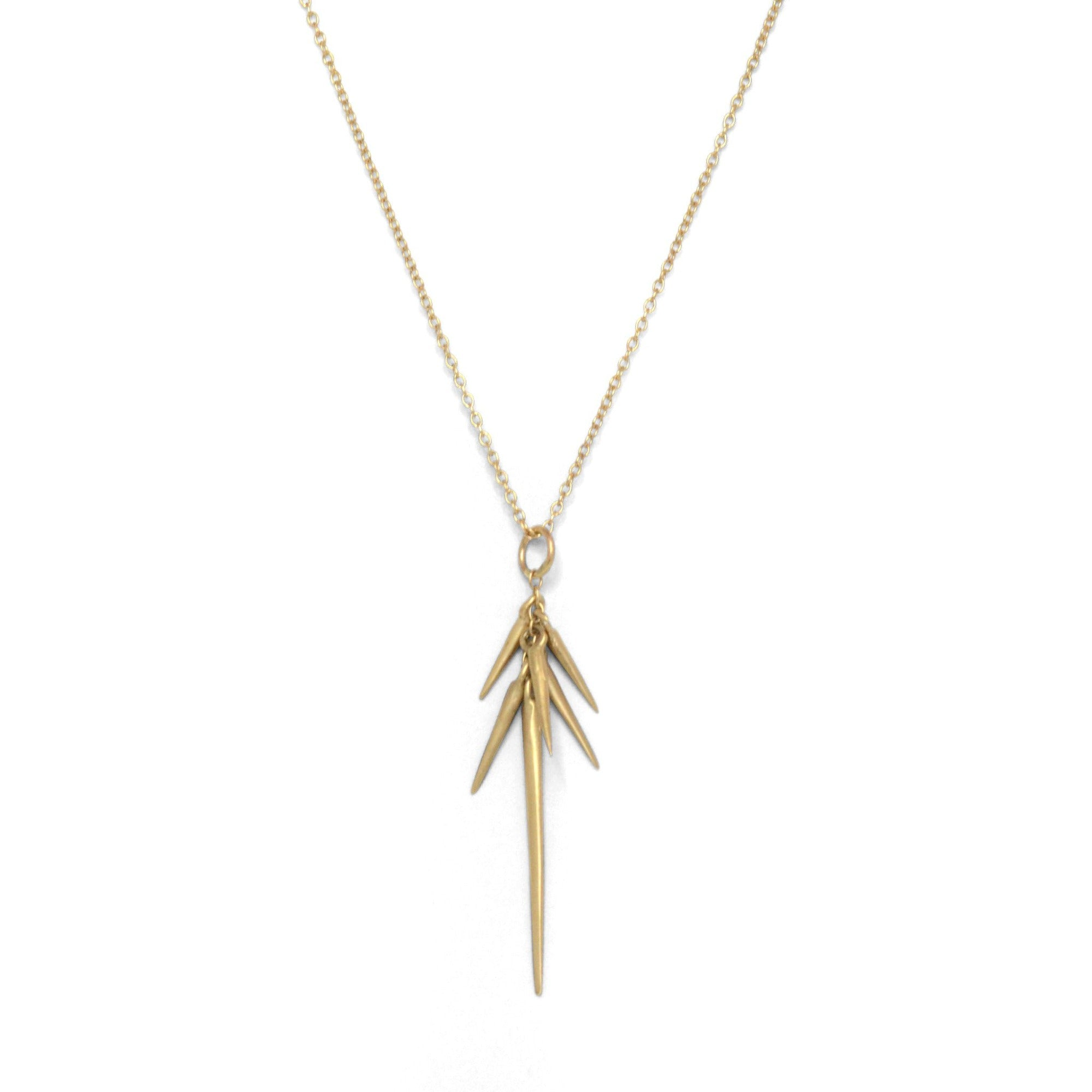14k yellow gold small point cluster necklace